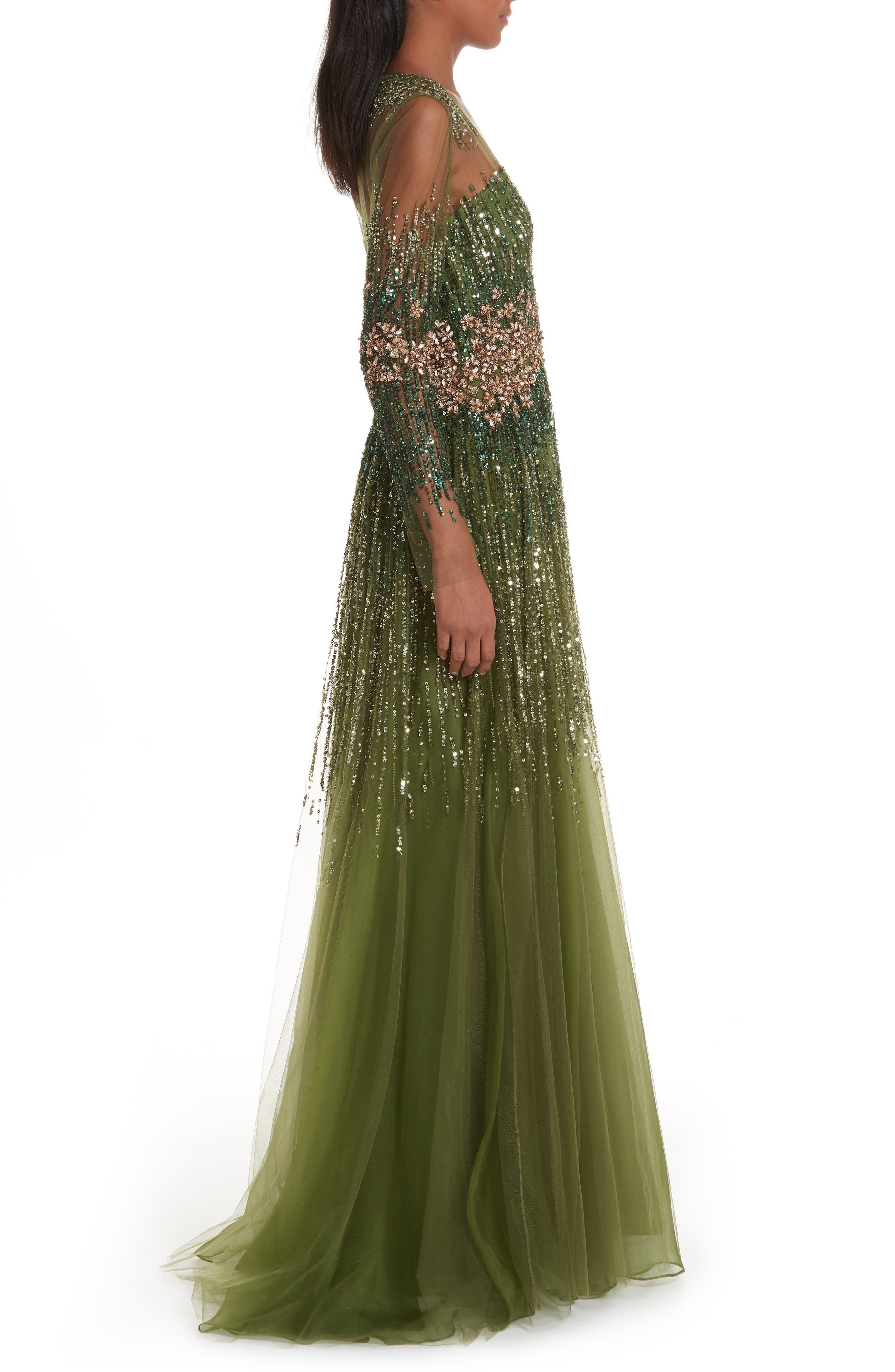 PAMELLA ROLAND, Crystal Embellished A-Line Gown, Alternate thumbnail 4, color, SAGE MULTI