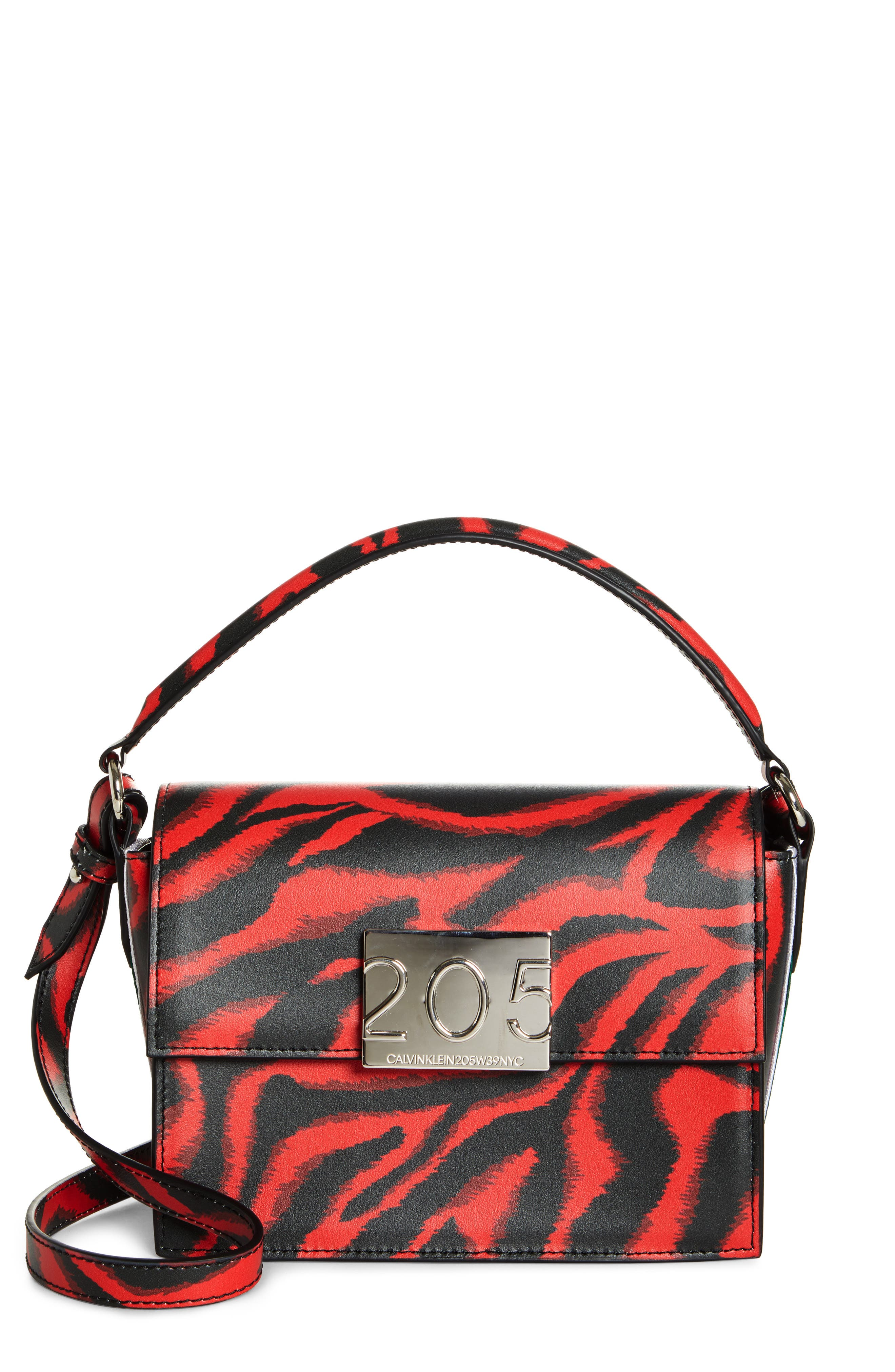 CALVIN KLEIN 205W39NYC Small Bonnie Top Handle Calfskin Shoulder Bag, Main, color, RED ZEBRA