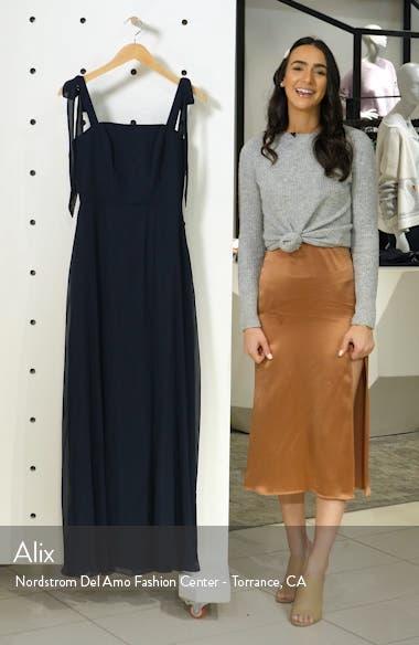 Shoulder Tie Chiffon Evening Dress, sales video thumbnail