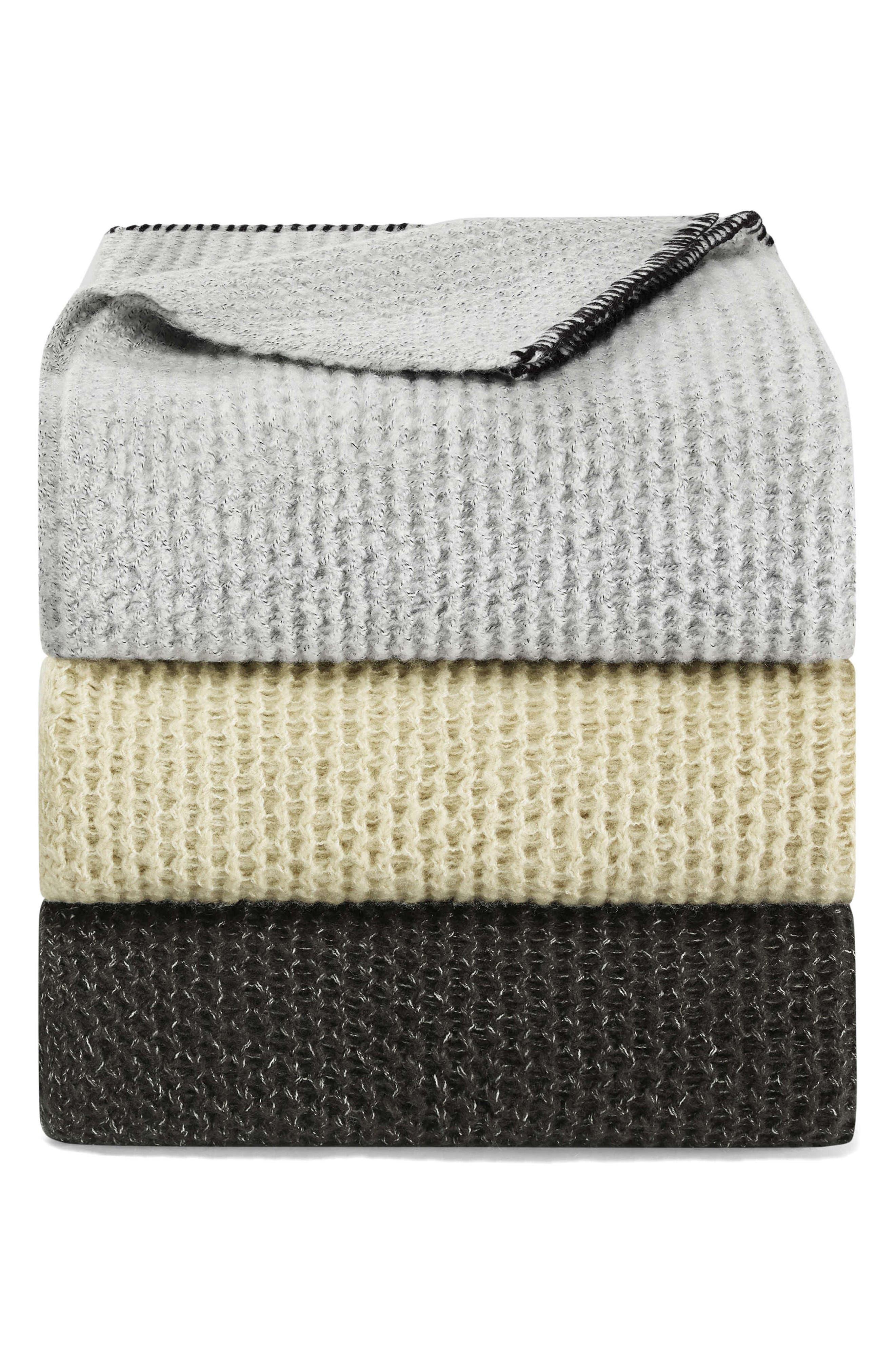 VERA WANG, Marled Knit Throw Blanket, Alternate thumbnail 2, color, SOOT