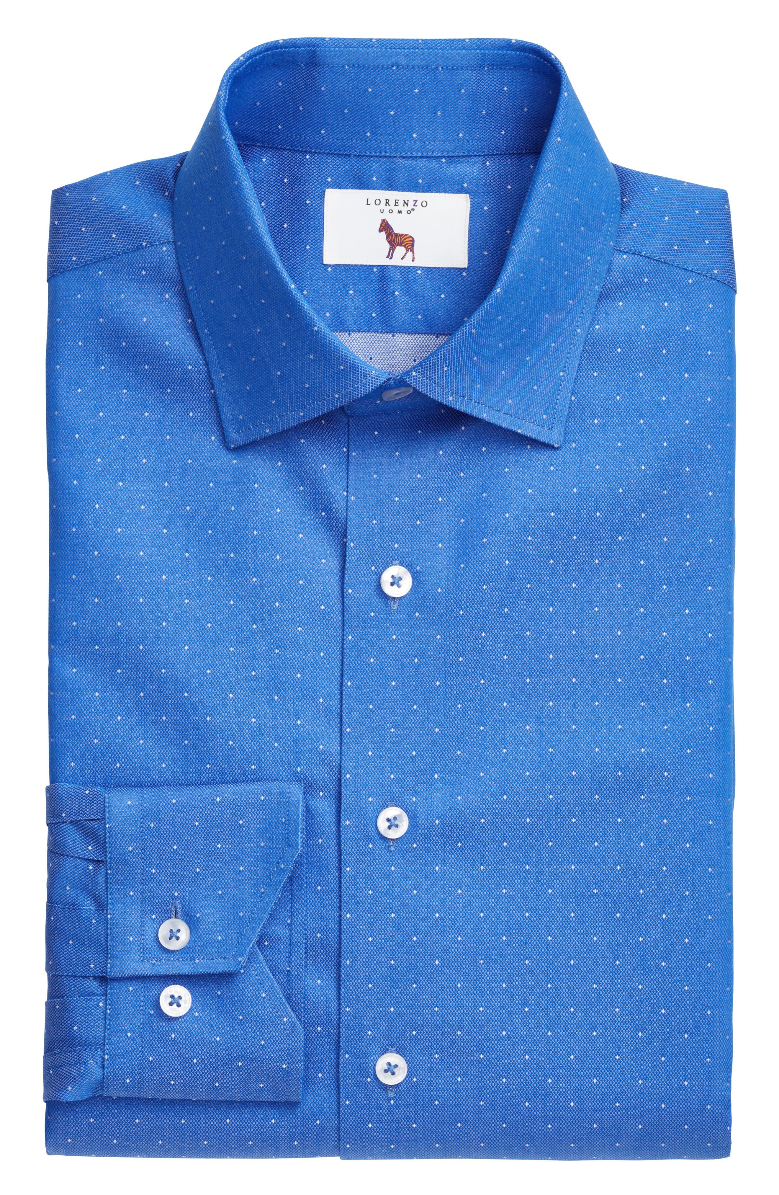 LORENZO UOMO, Trim Fit Dot Dress Shirt, Alternate thumbnail 3, color, ROYAL