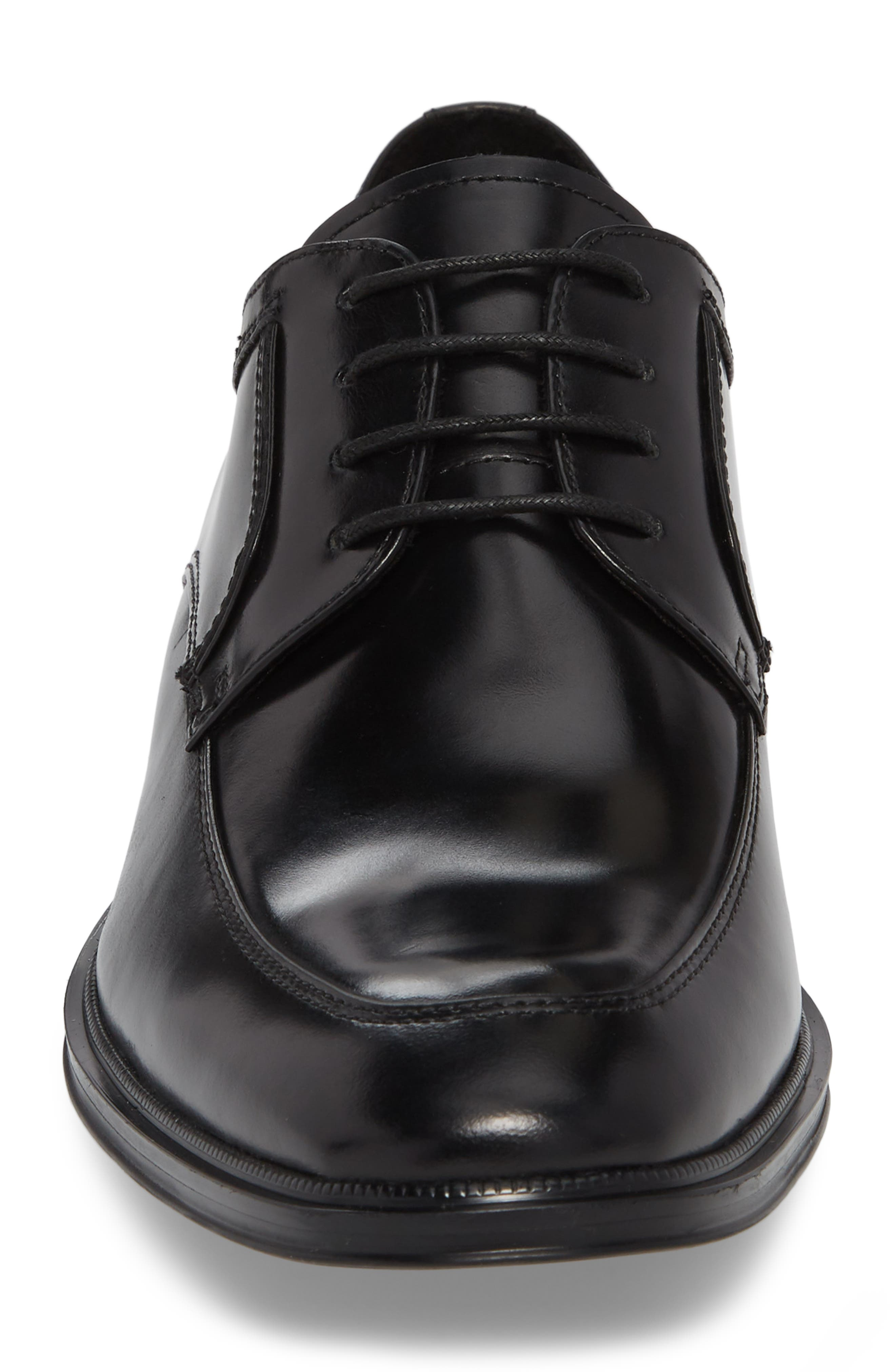 KENNETH COLE NEW YORK, Tully Apron Toe Derby, Alternate thumbnail 4, color, BLACK LEATHER