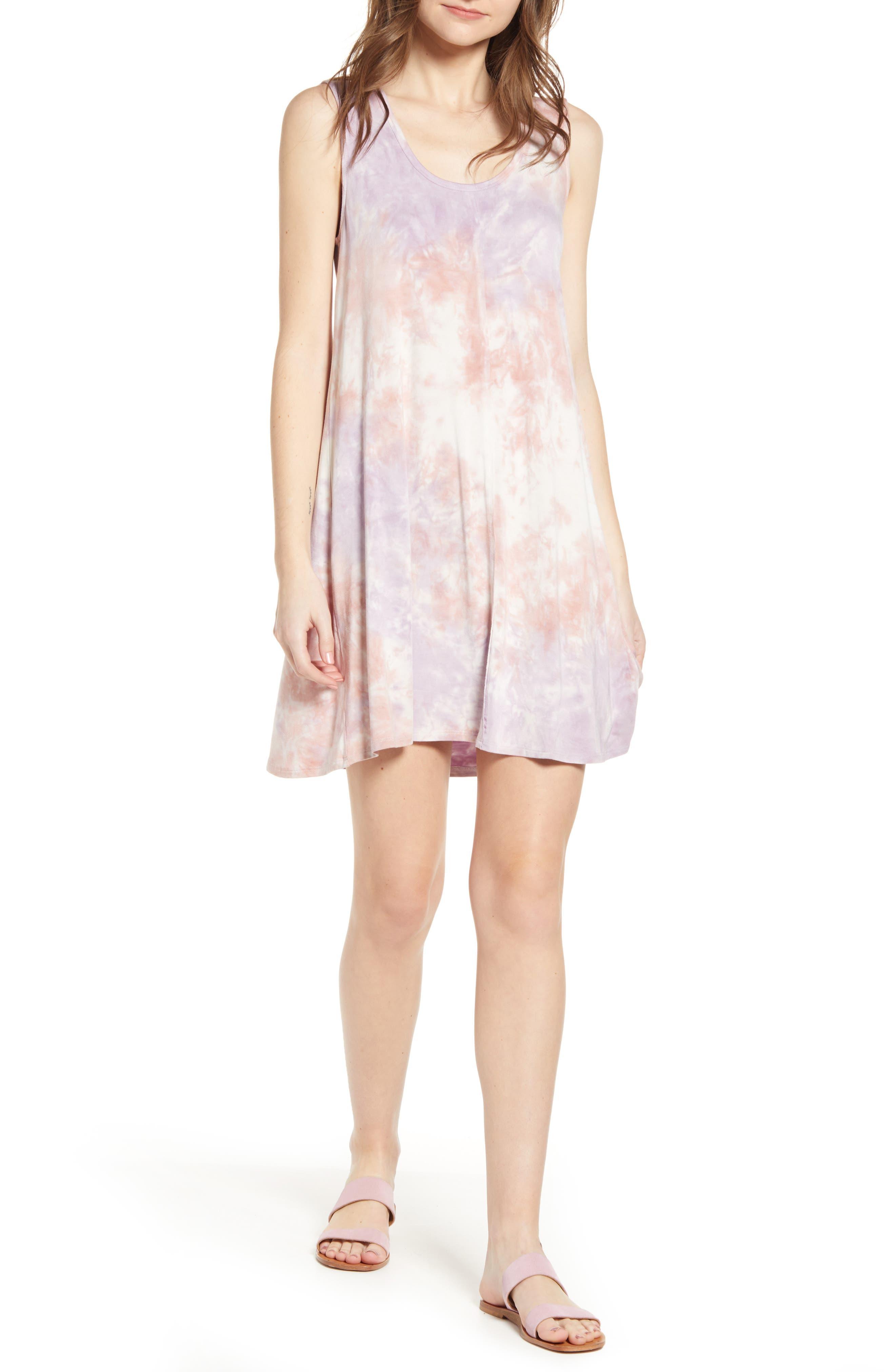 Splendid Purple Haze Tie Dye Jersey Dress, Purple