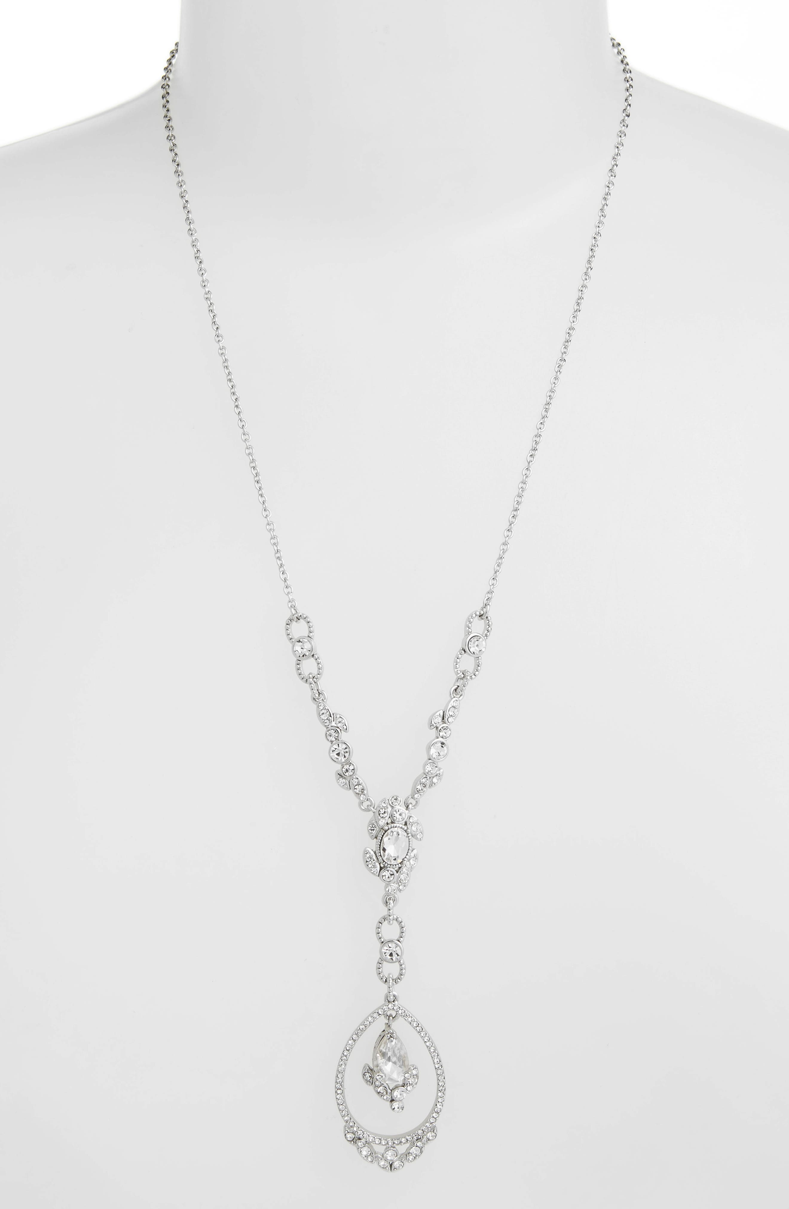 JENNY PACKHAM Crystal Y-Necklace, Main, color, CRYSTAL