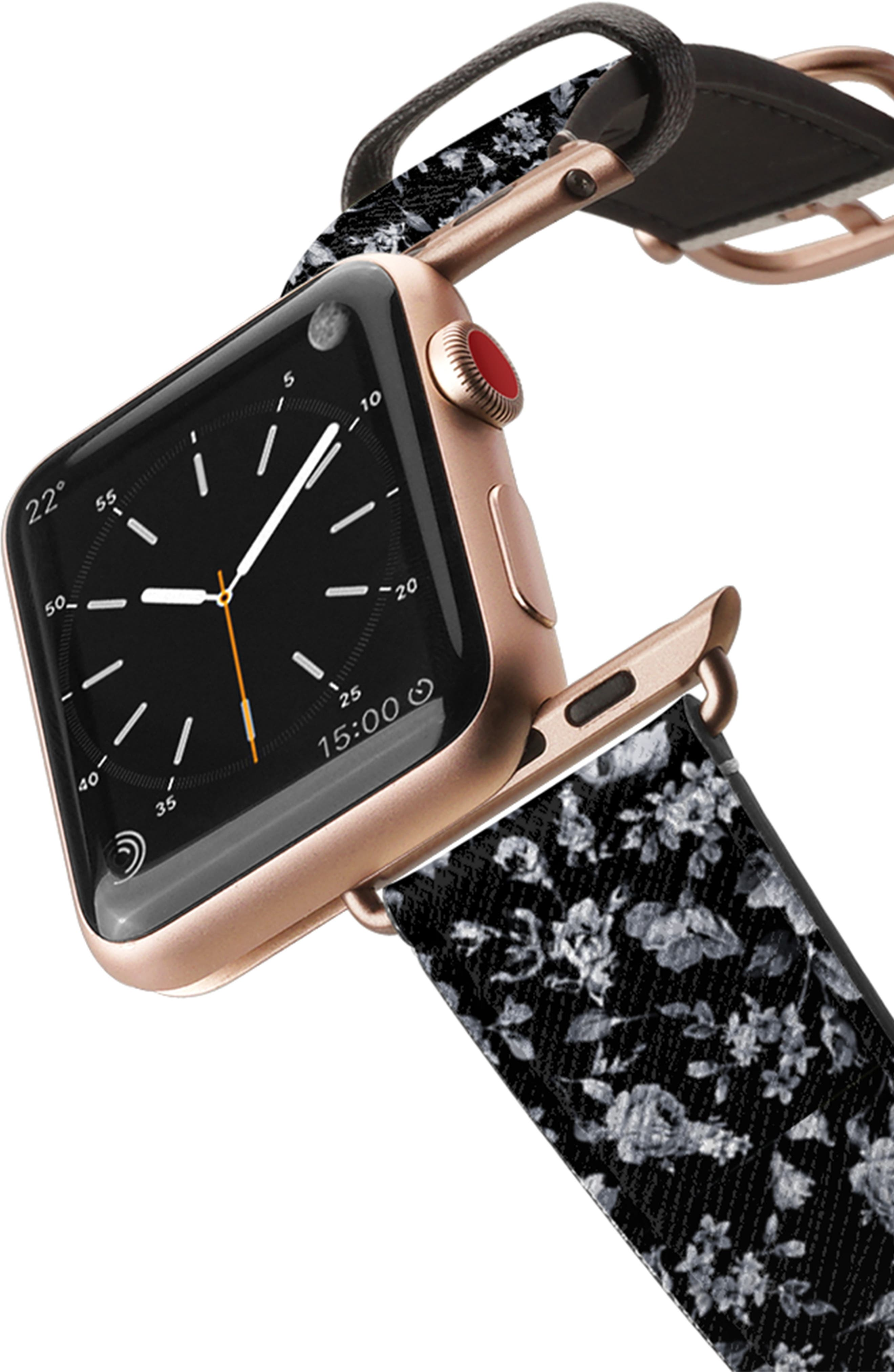 CASETIFY, Vintage Flowers Saffiano Faux Leather Apple Watch Strap, Alternate thumbnail 2, color, BLACK/ ROSE GOLD