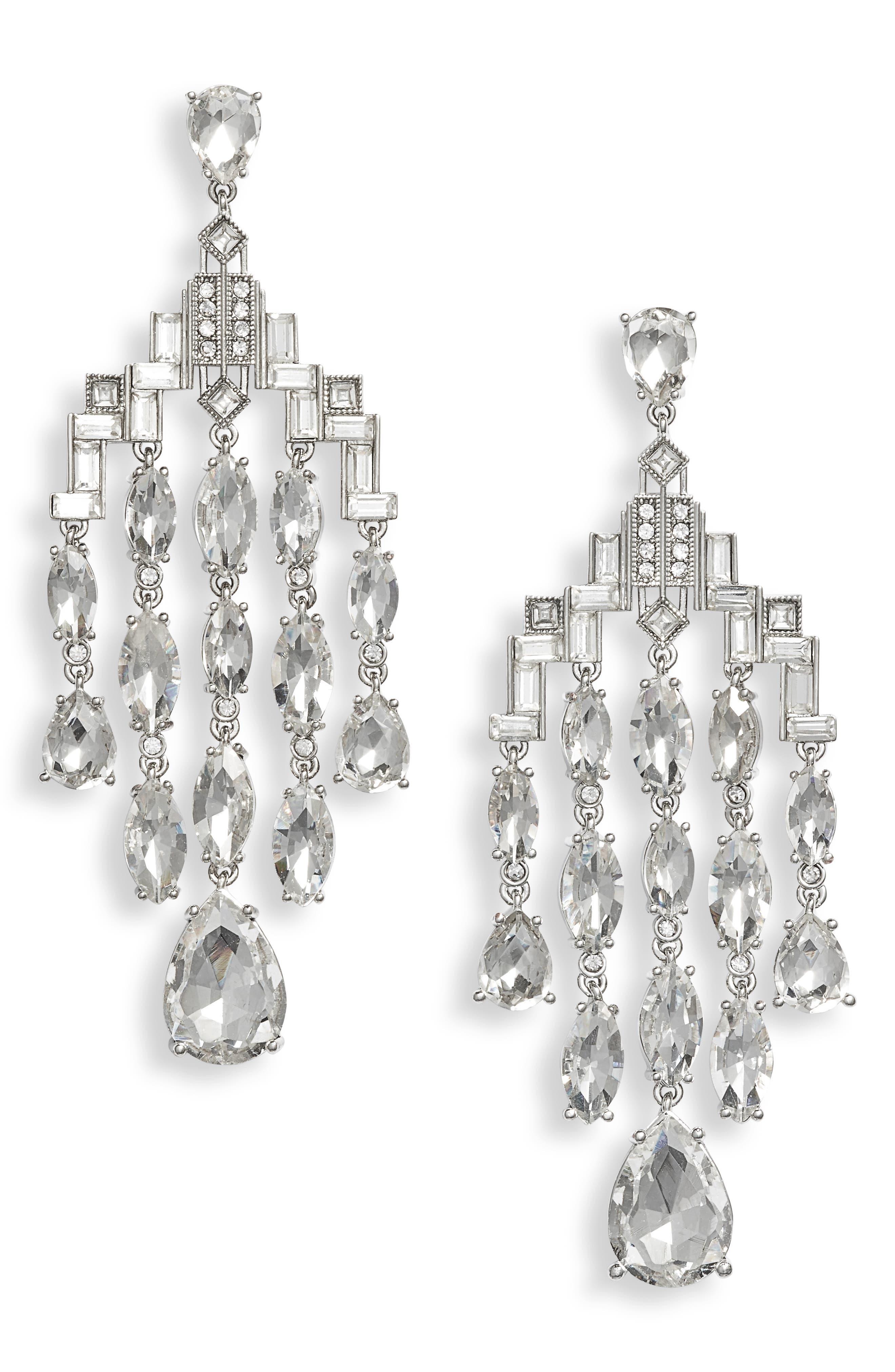 JENNY PACKHAM, Deco Chandelier Earrings, Main thumbnail 1, color, RHODIUM/ CRYSTAL