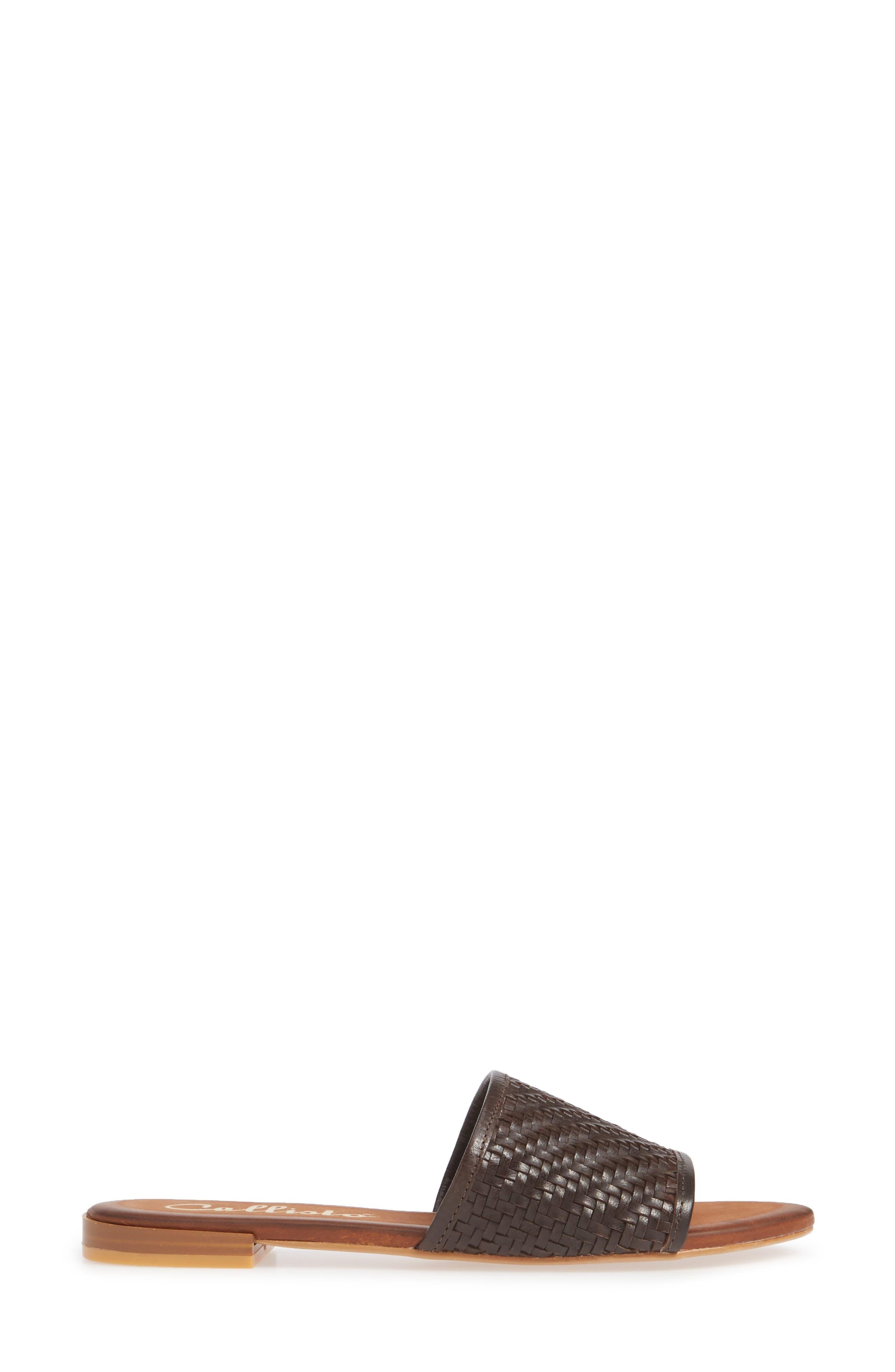 CALLISTO, Thera Woven Slide Sandal, Alternate thumbnail 3, color, BROWN WOVEN LEATHER