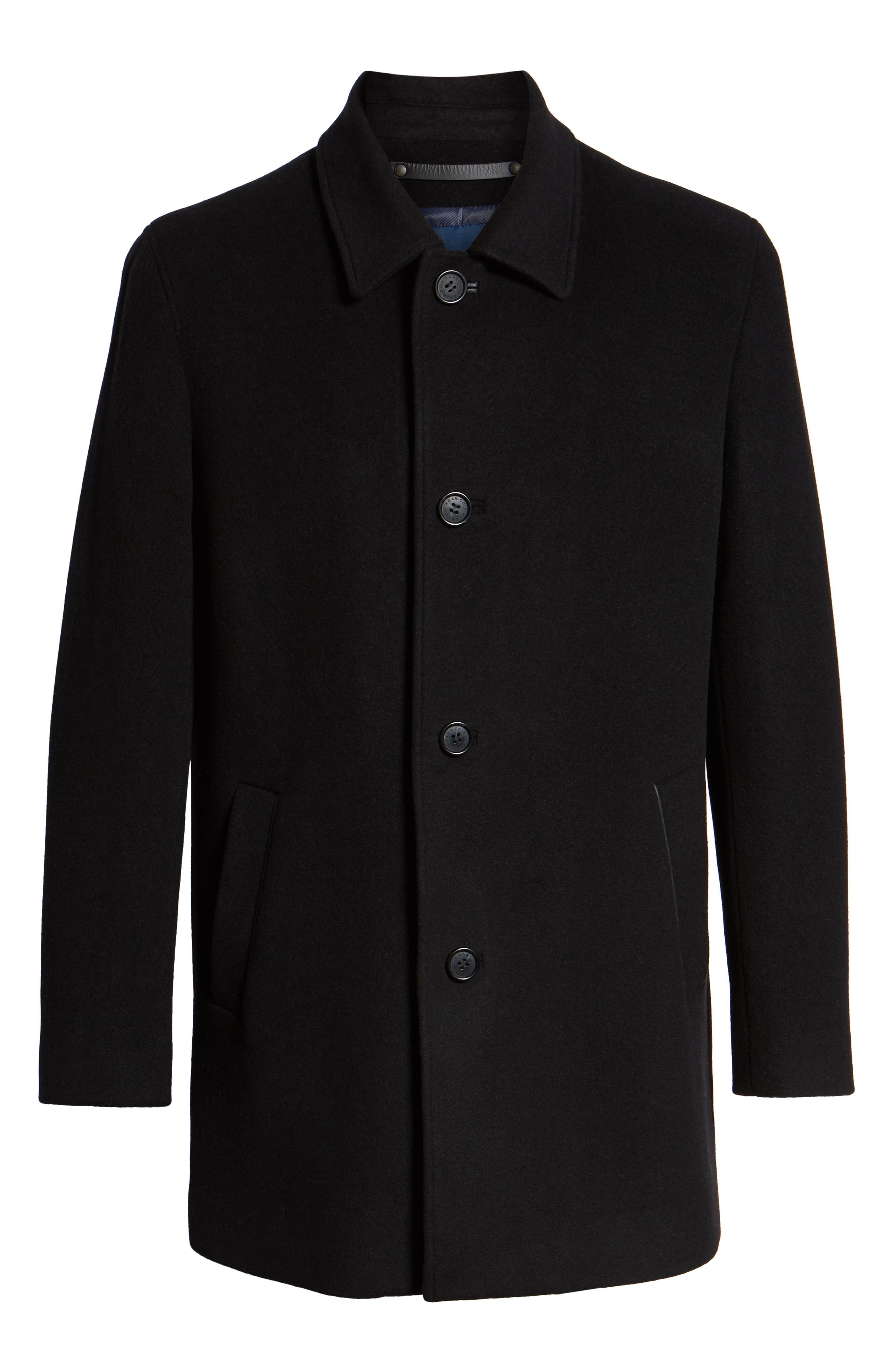 COLE HAAN, Italian Wool Blend Overcoat, Alternate thumbnail 6, color, 001