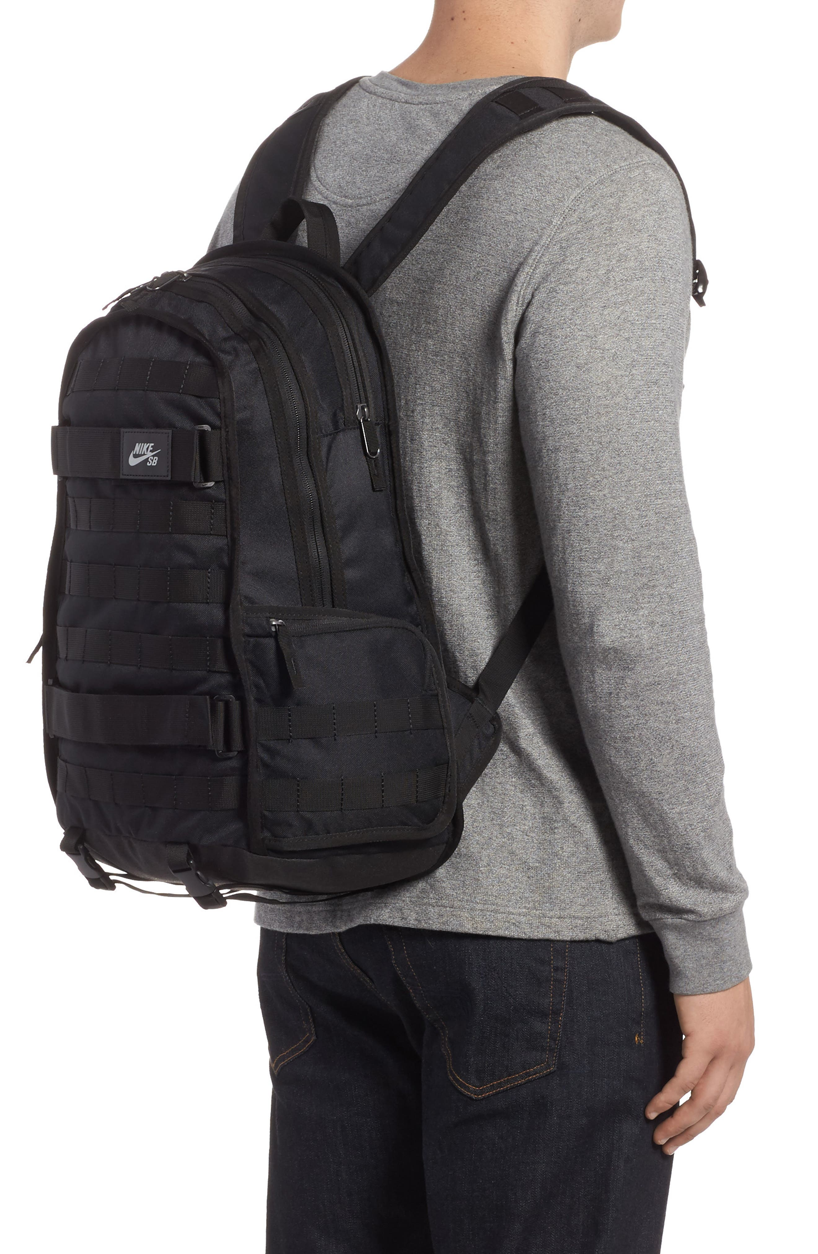 NIKE SB, RPM Backpack, Alternate thumbnail 2, color, BLACK/ BLACK/ BLACK