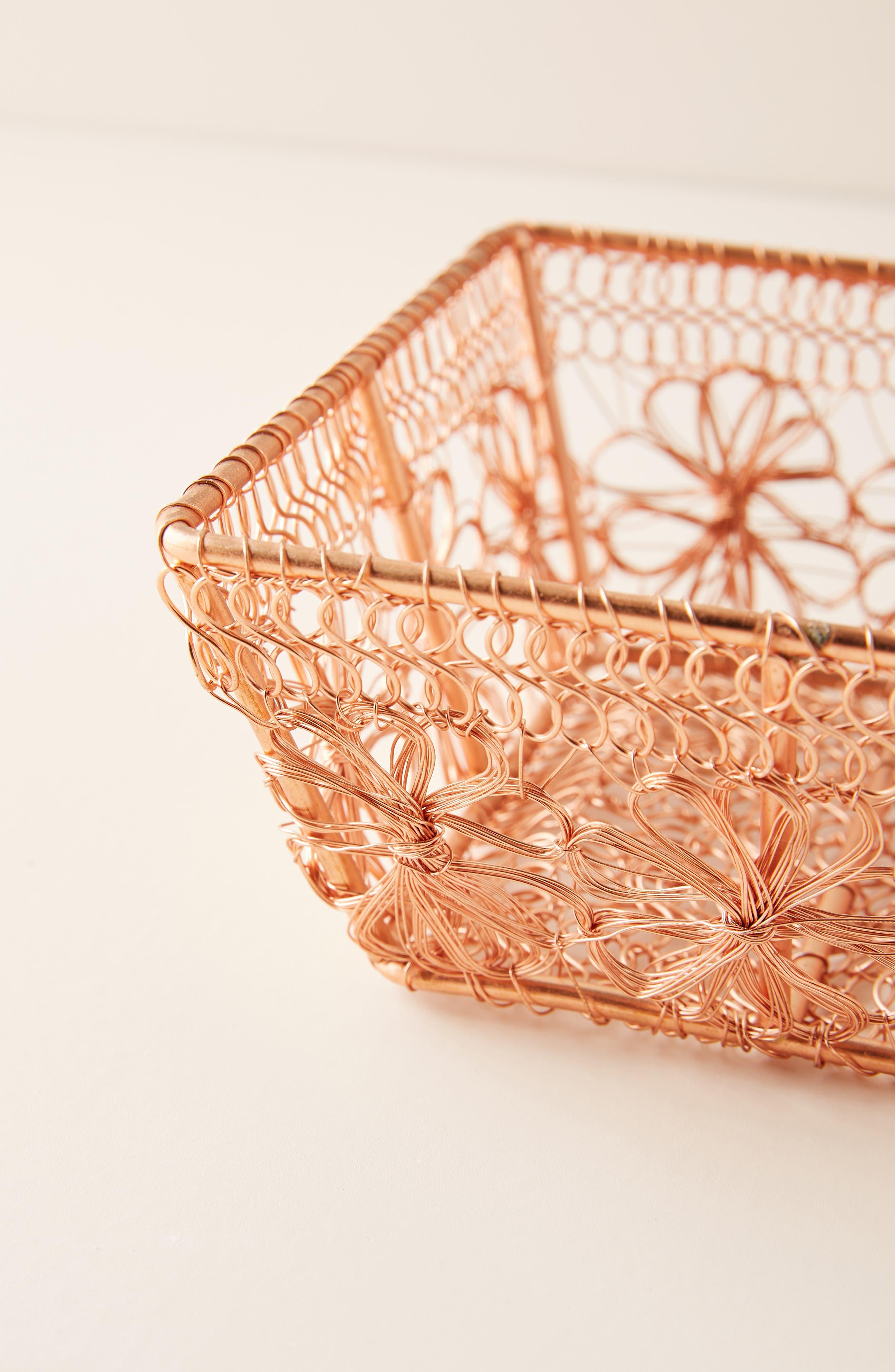 ANTHROPOLOGIE, Copper Floral Berry Basket, Alternate thumbnail 2, color, COPPER