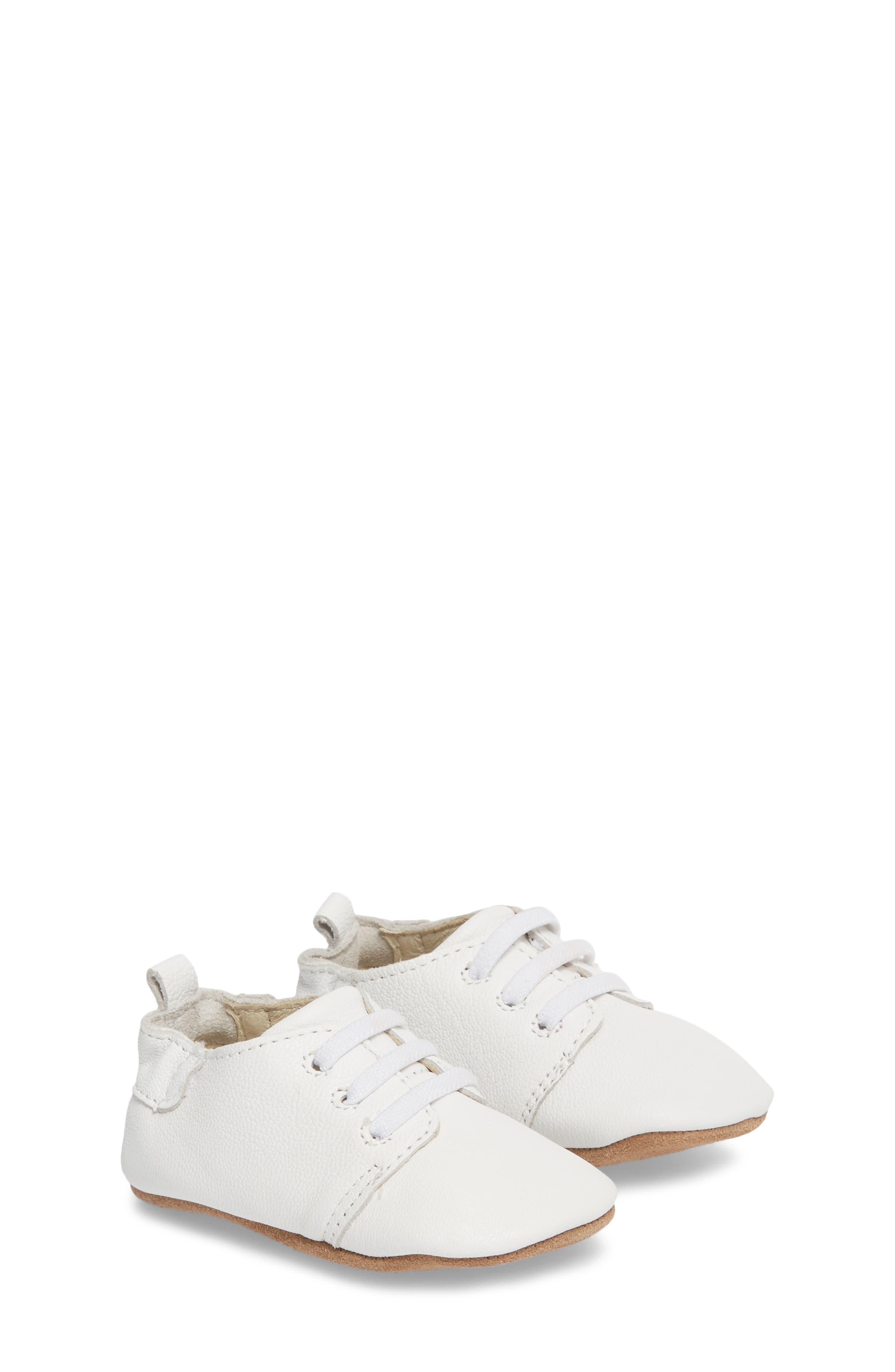 ROBEEZ<SUP>®</SUP>, Owen Oxford Crib Shoe, Main thumbnail 1, color, WHITE