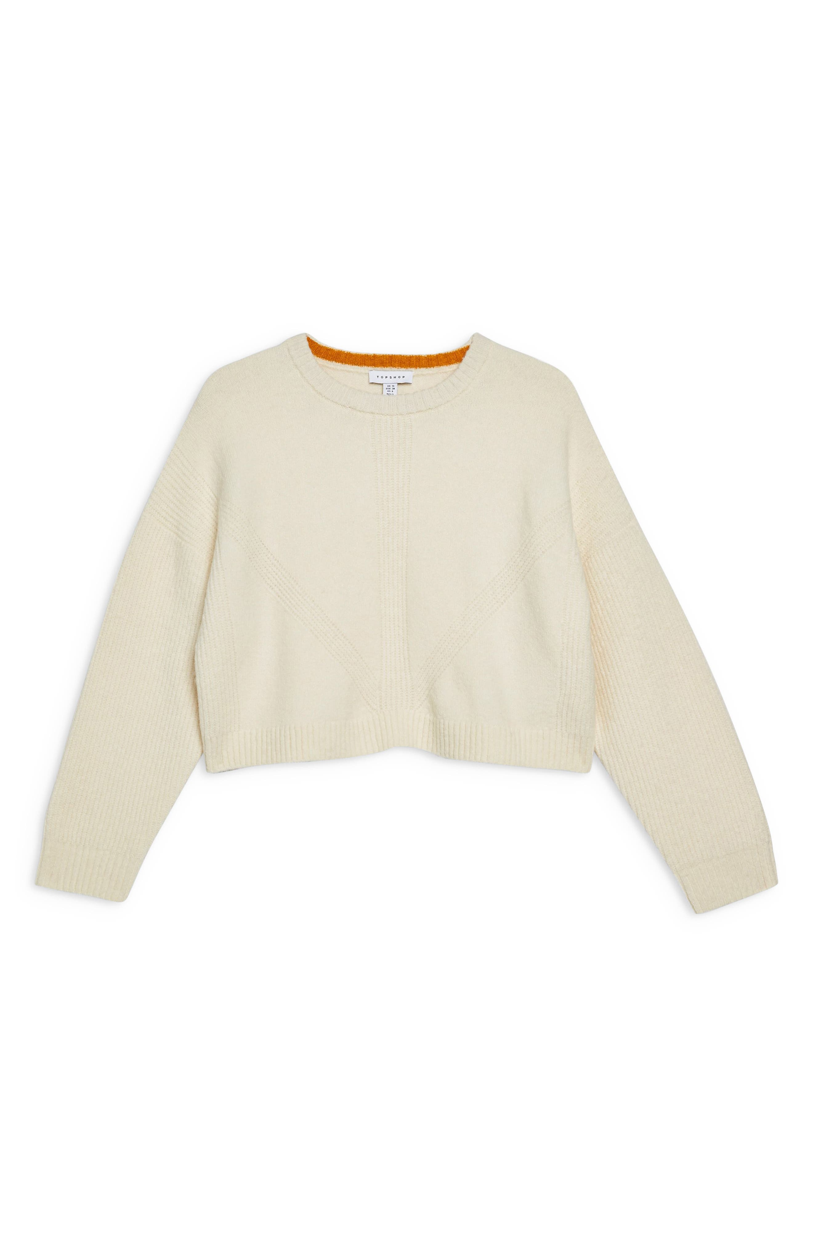TOPSHOP, Stretch Chevron Ribbed Sweater, Alternate thumbnail 3, color, 900