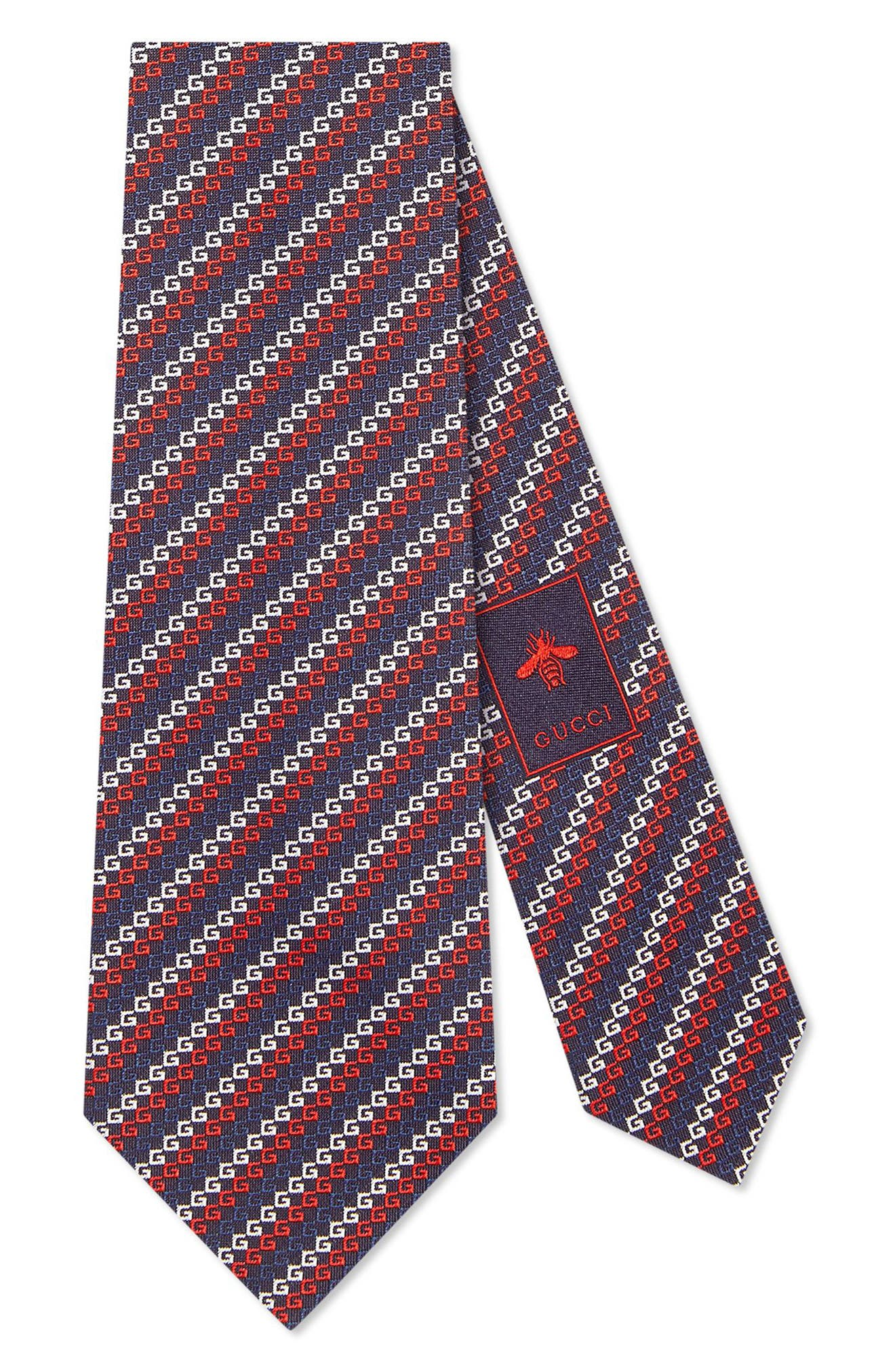 GUCCI Diagonal GG Silk Tie, Main, color, MIDNIGHT BLUE
