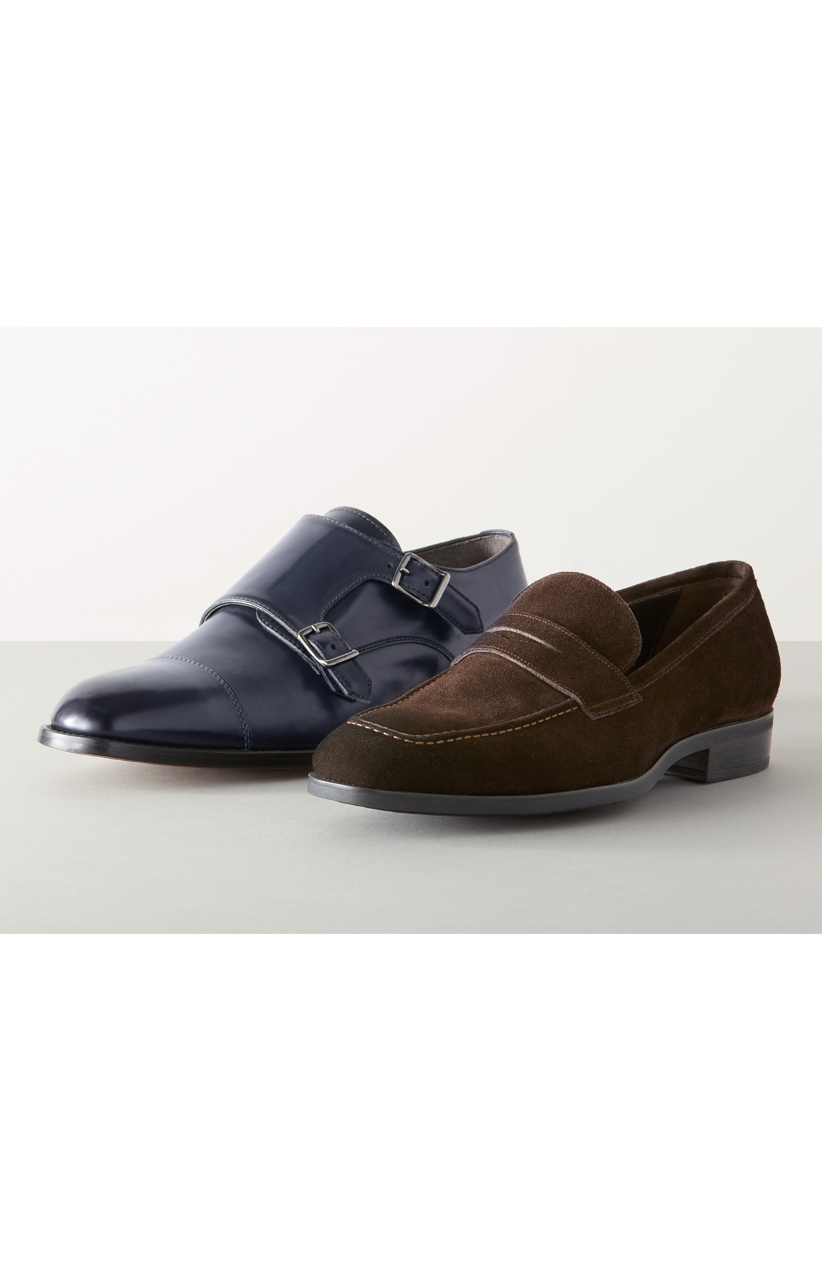 TO BOOT NEW YORK, Quentin Cap Toe Monk Shoe, Alternate thumbnail 7, color, BROWN SUEDE LEATHER