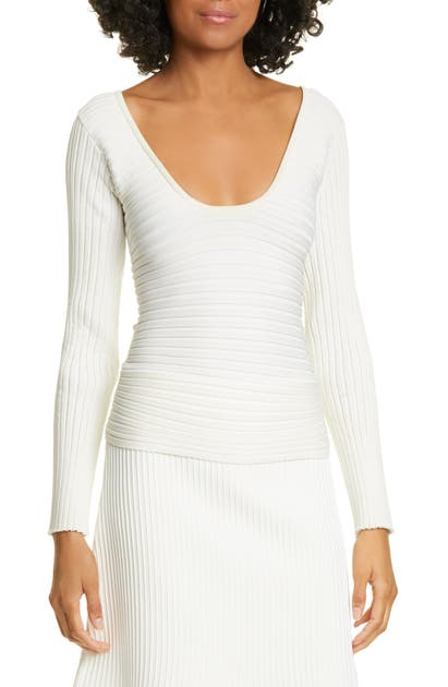 Tibi Sweaters TECH RIBBED DECOLLETE WRAP SWEATER