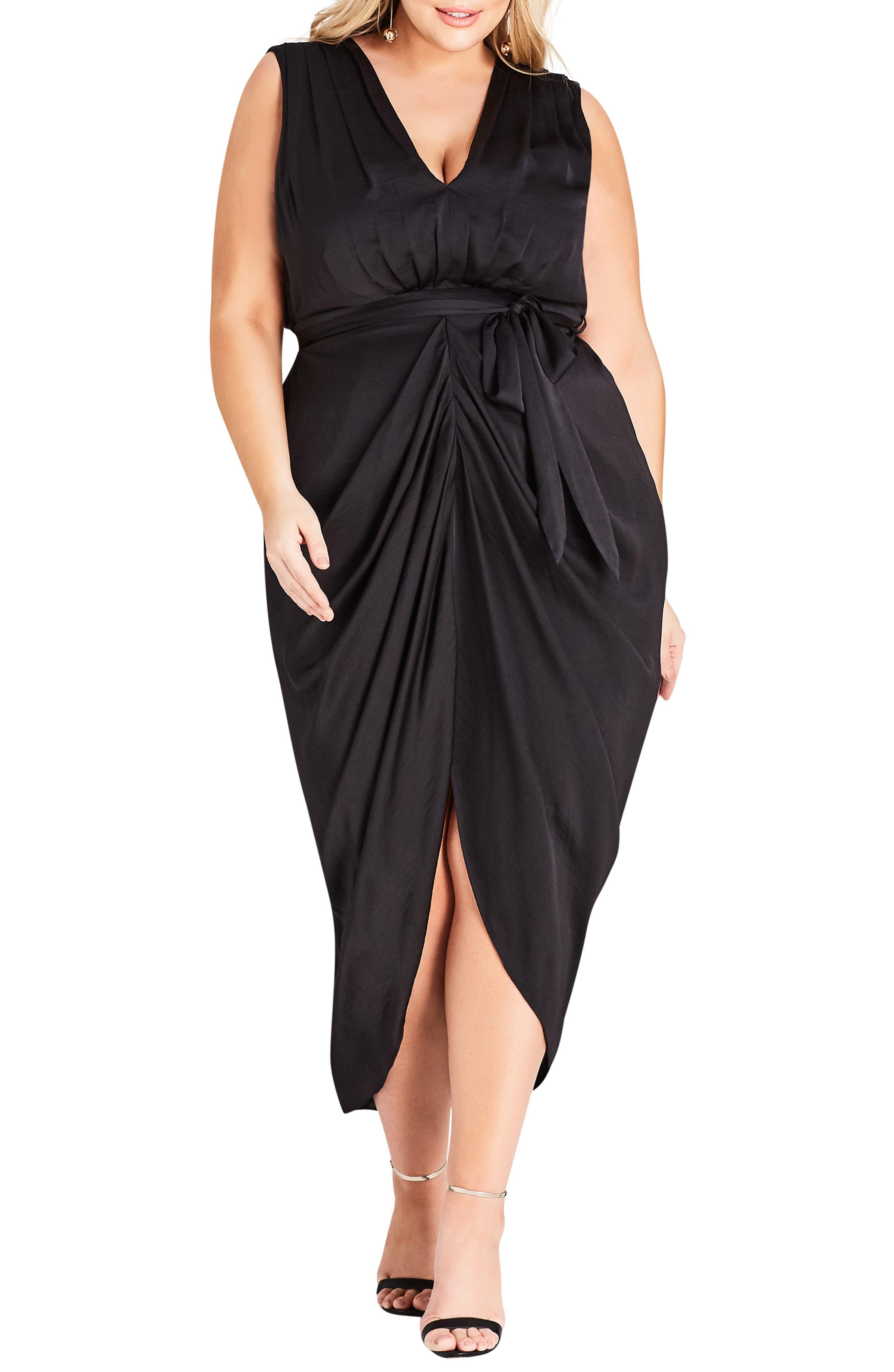 Plus Size City Chic Drape Front Sheath Dress, Black