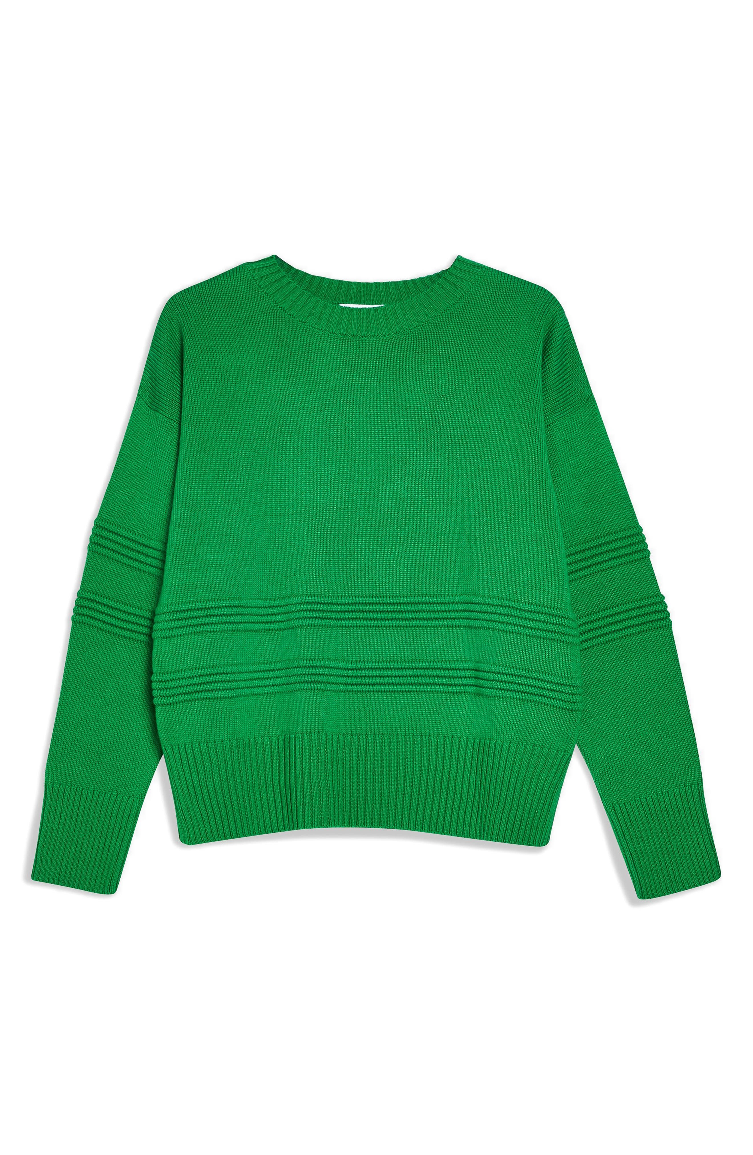 TOPSHOP, Ottoman Stitch Sweater, Alternate thumbnail 3, color, GREEN