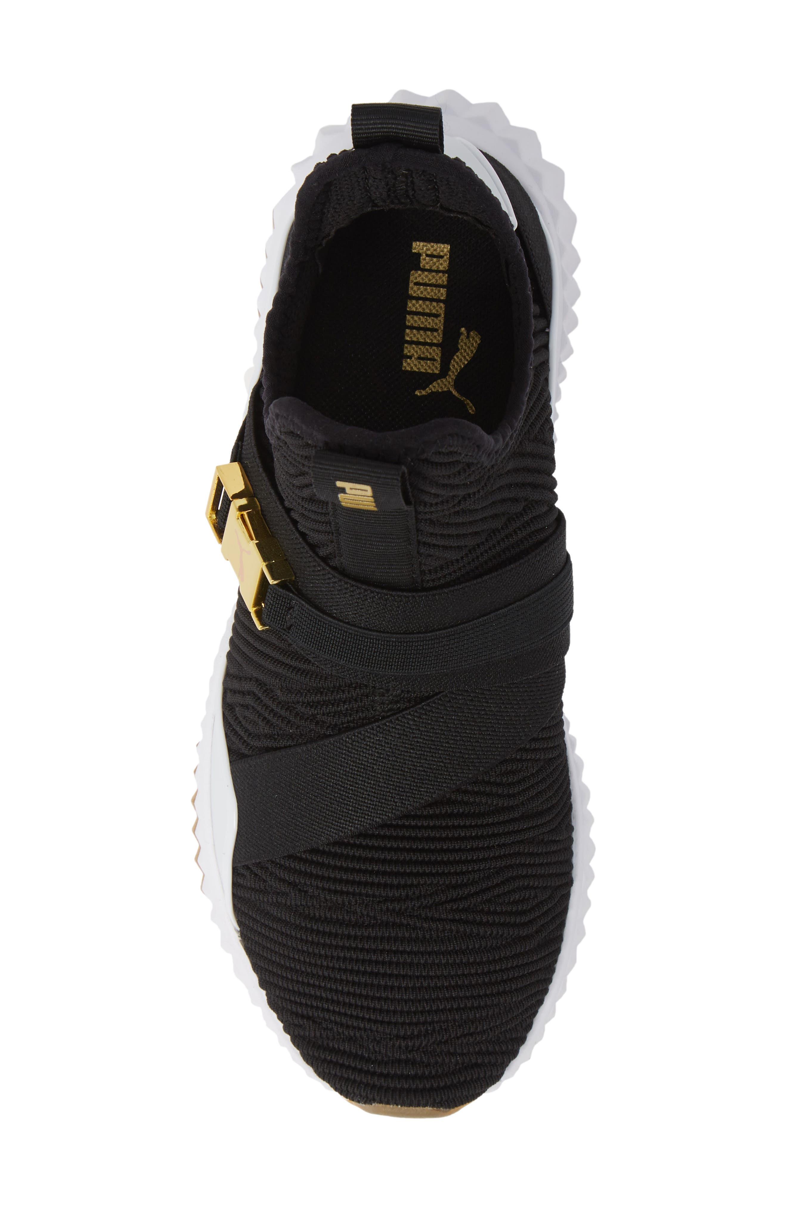 PUMA, Defy Mid Varsity Sneaker, Alternate thumbnail 5, color, BLACK/ METALLIC GOLD