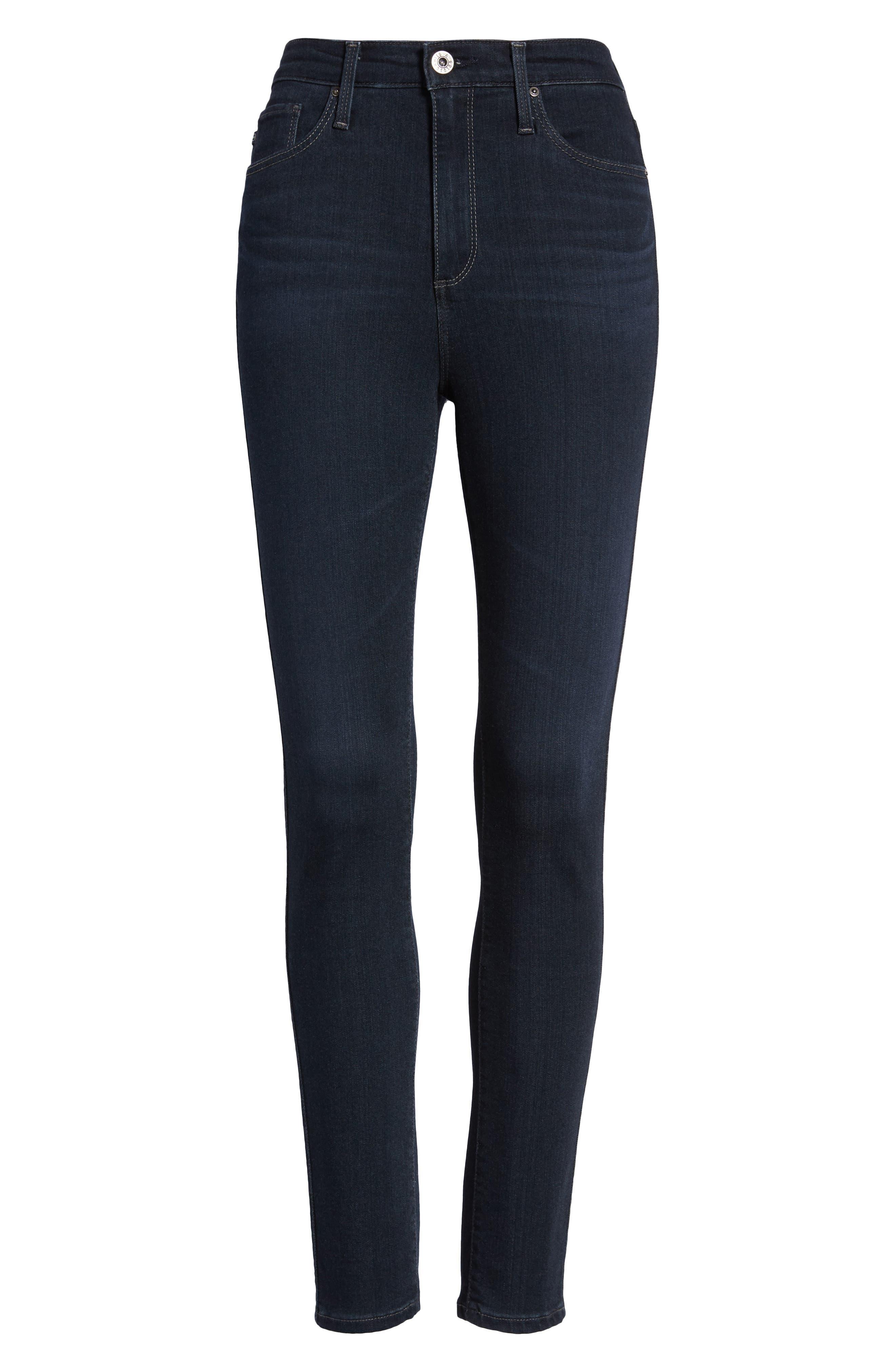 AG, The Mila Super High Waist Ankle Skinny Jeans, Alternate thumbnail 7, color, AUDACIOUS