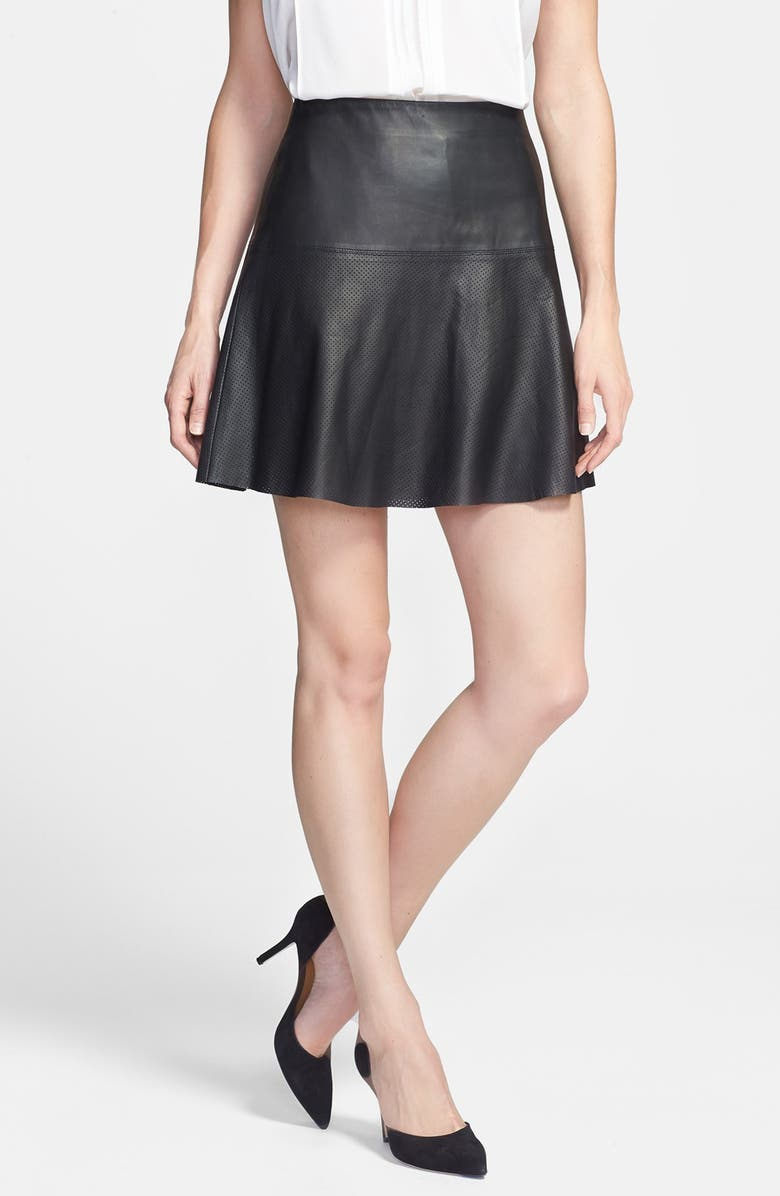 249fc7a164 VINCE Perforated Leather Skirt, Main, color, 001