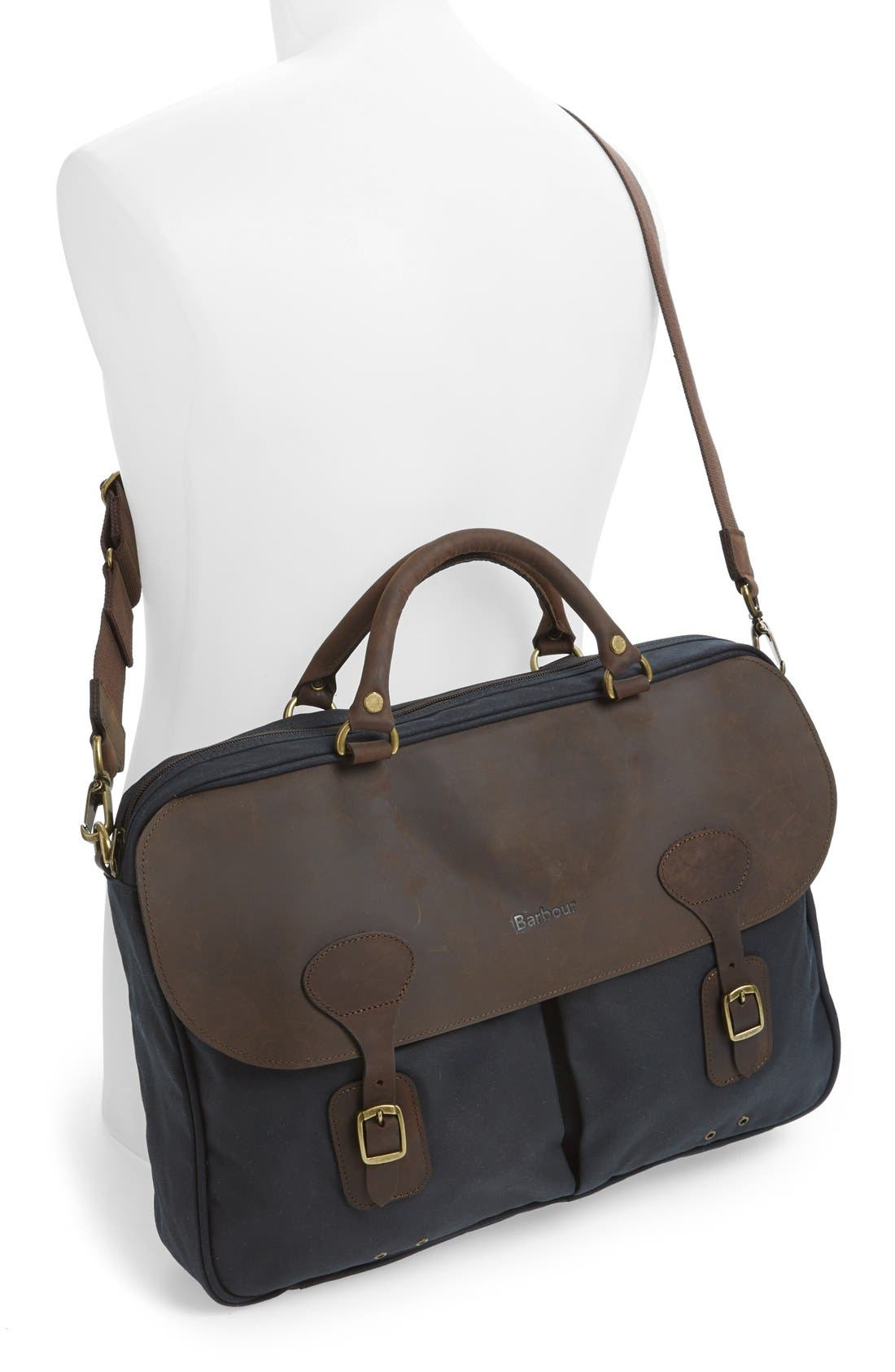 BARBOUR, Waxed Canvas Briefcase, Alternate thumbnail 2, color, NAVY