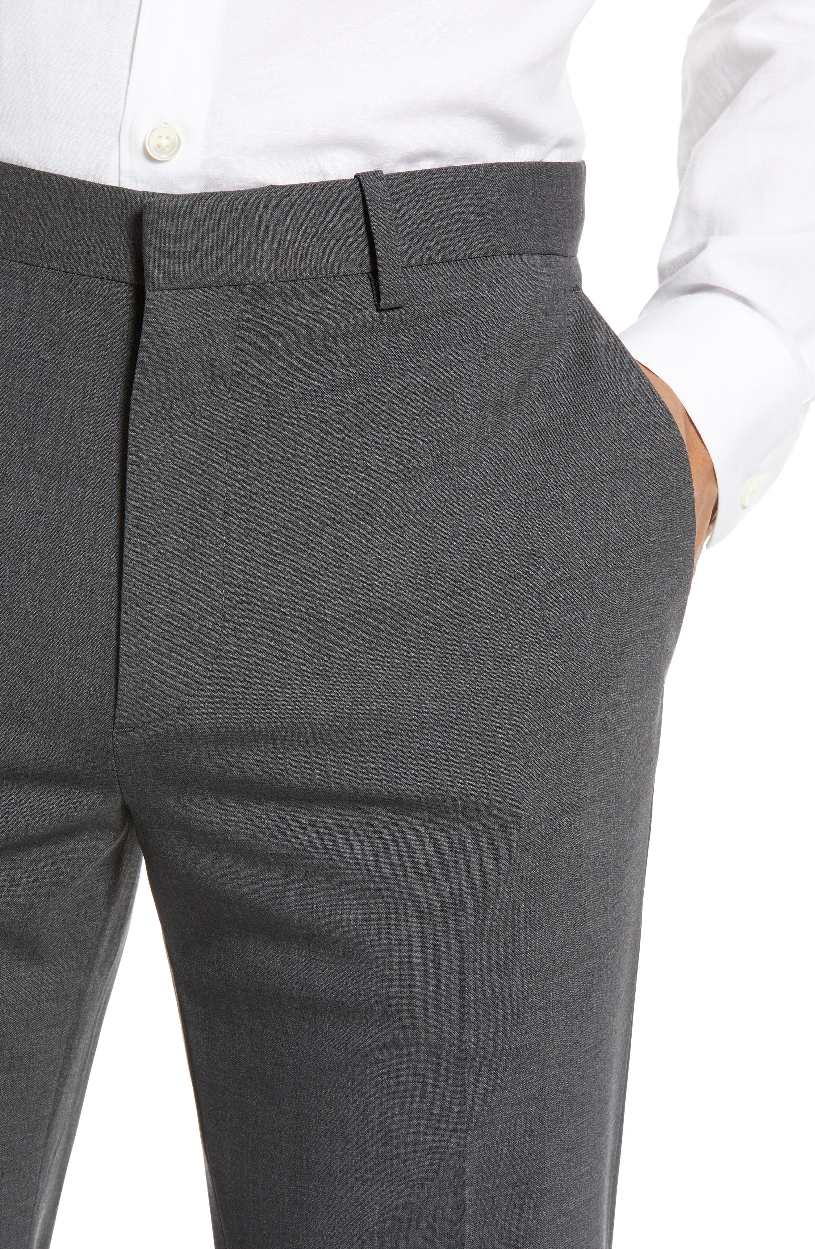 THEORY, Mayer New Tailor 2 Wool Trousers, Alternate thumbnail 4, color, CHARCOAL