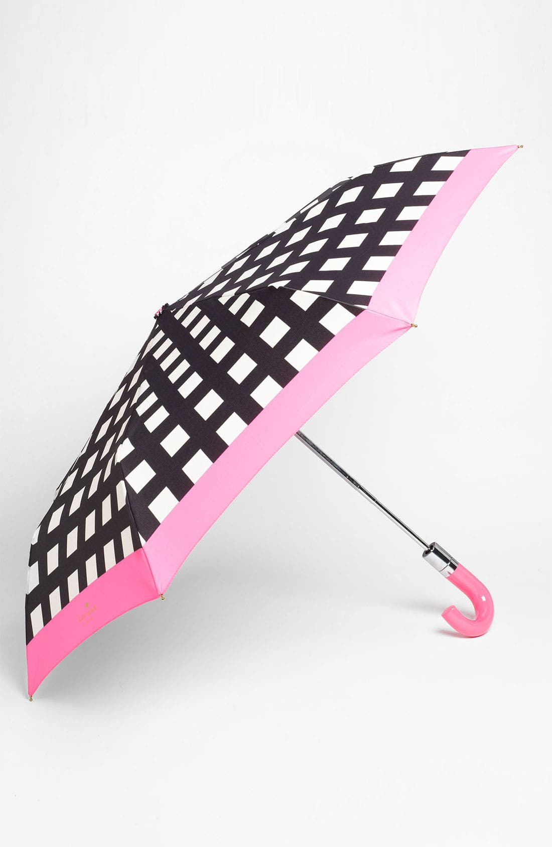 KATE SPADE NEW YORK, 'pop art' check umbrella, Main thumbnail 1, color, 001