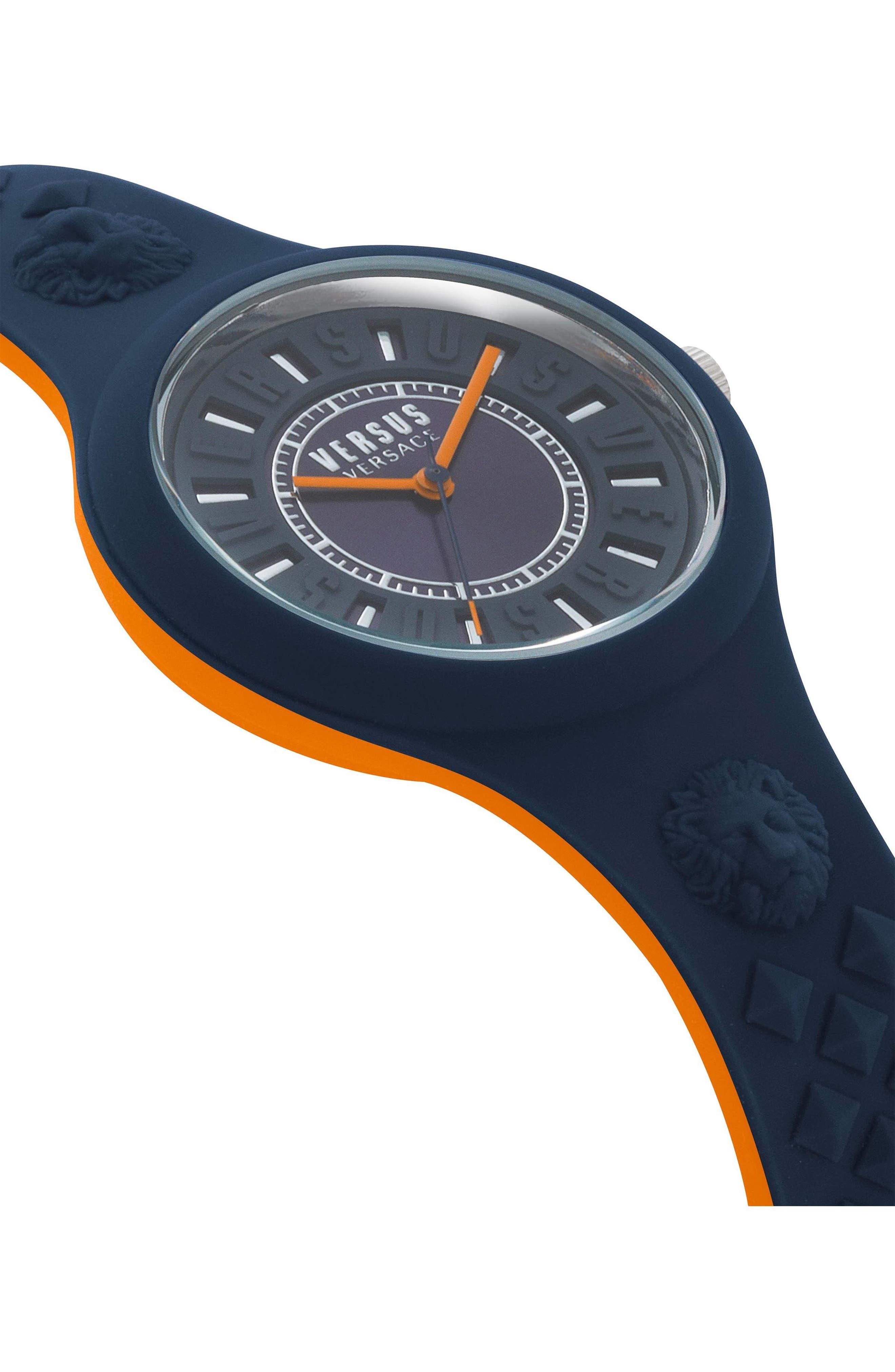 VERSUS VERSACE, Fire Island Silicone Strap Watch, 39mm, Alternate thumbnail 3, color, GREY/ ORANGE