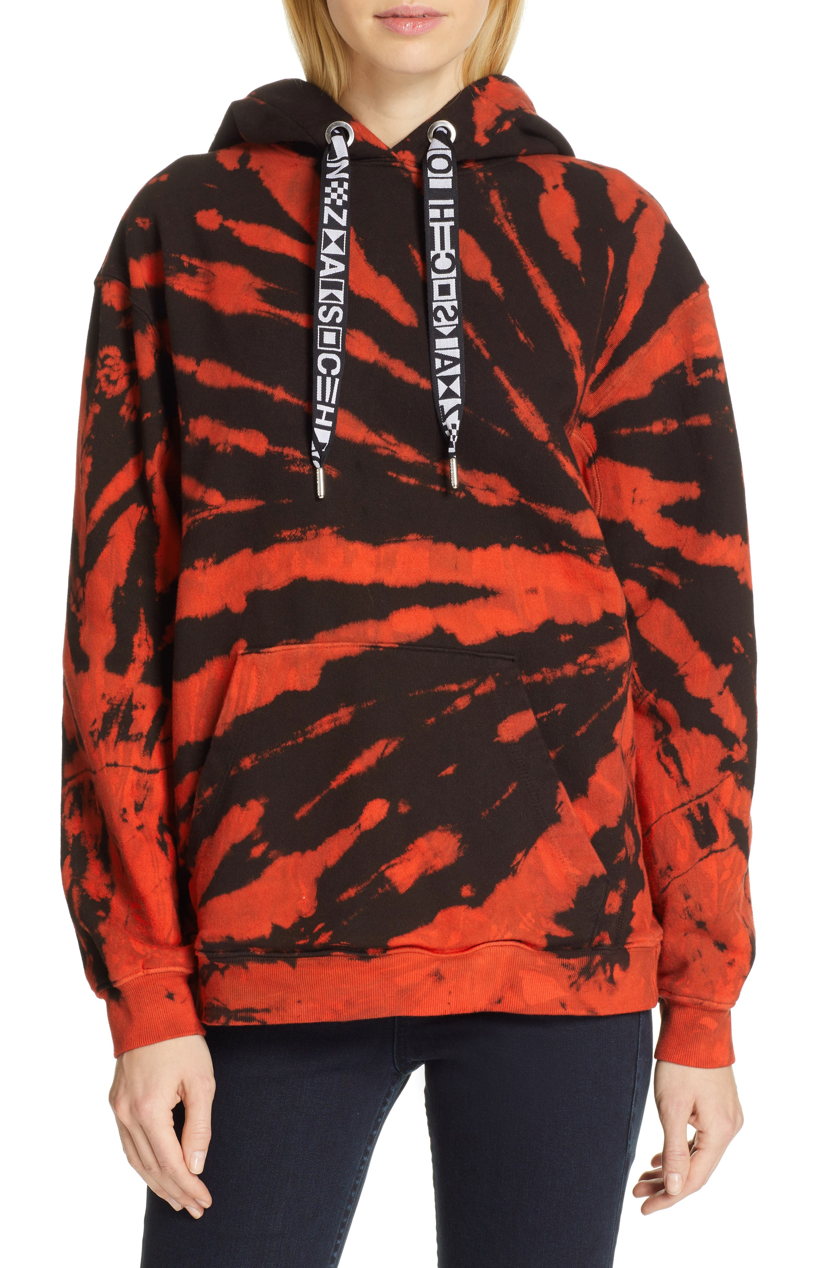 PROENZA SCHOULER, PSWL Tie Dye Hoodie, Main thumbnail 1, color, RED/ BLACK