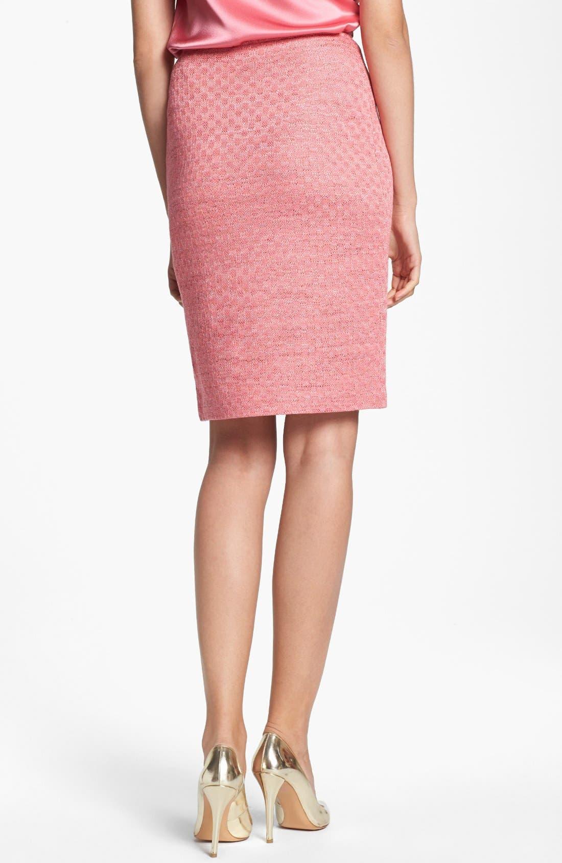 ST. JOHN COLLECTION, Damier Knit Pencil Skirt, Alternate thumbnail 4, color, 950