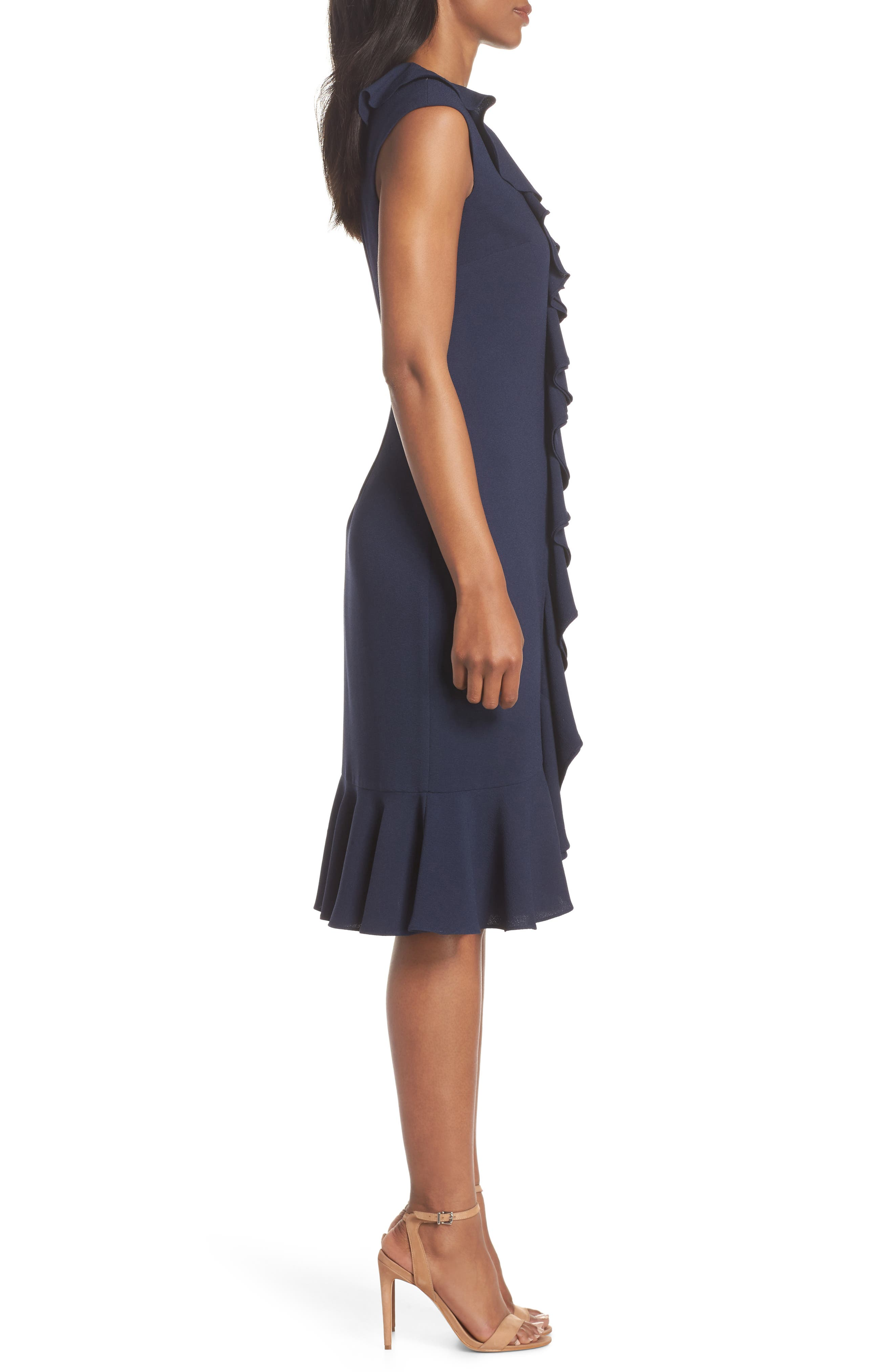 MAGGY LONDON, Crepe Ruffle Front Sheath Dress, Alternate thumbnail 4, color, NAVY