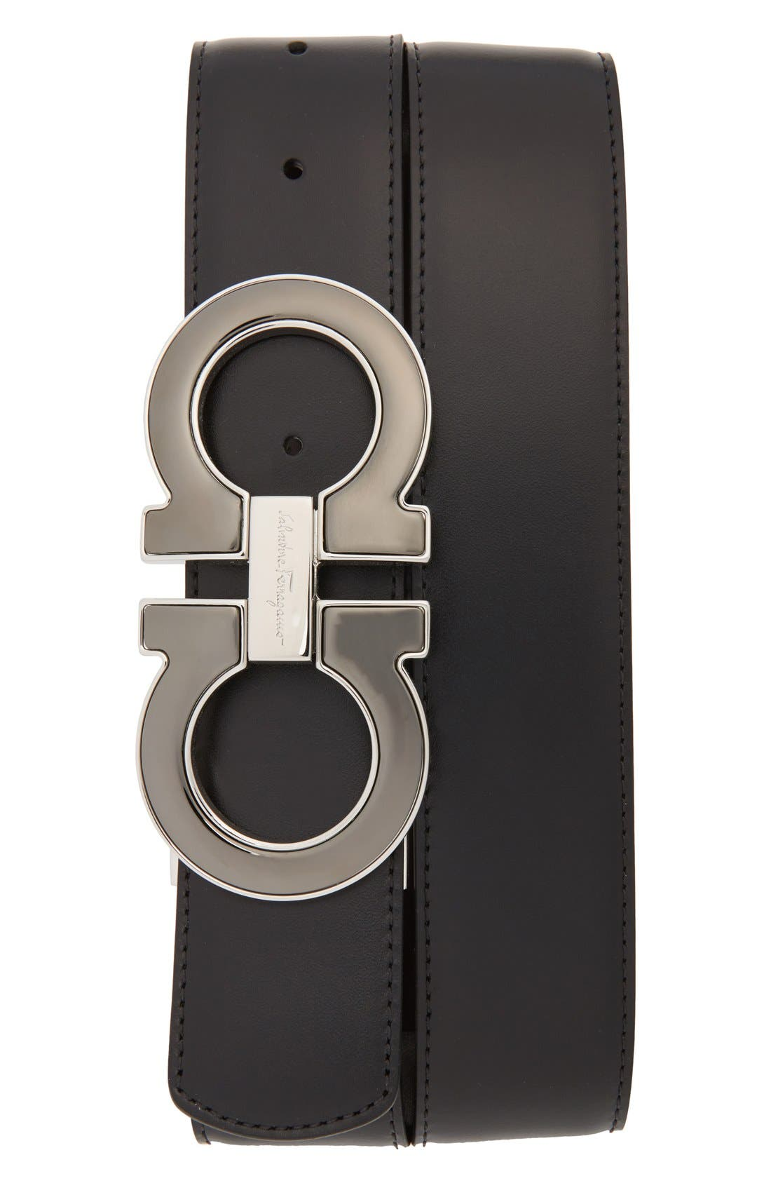 SALVATORE FERRAGAMO, Reversible Leather Belt, Main thumbnail 1, color, NERO