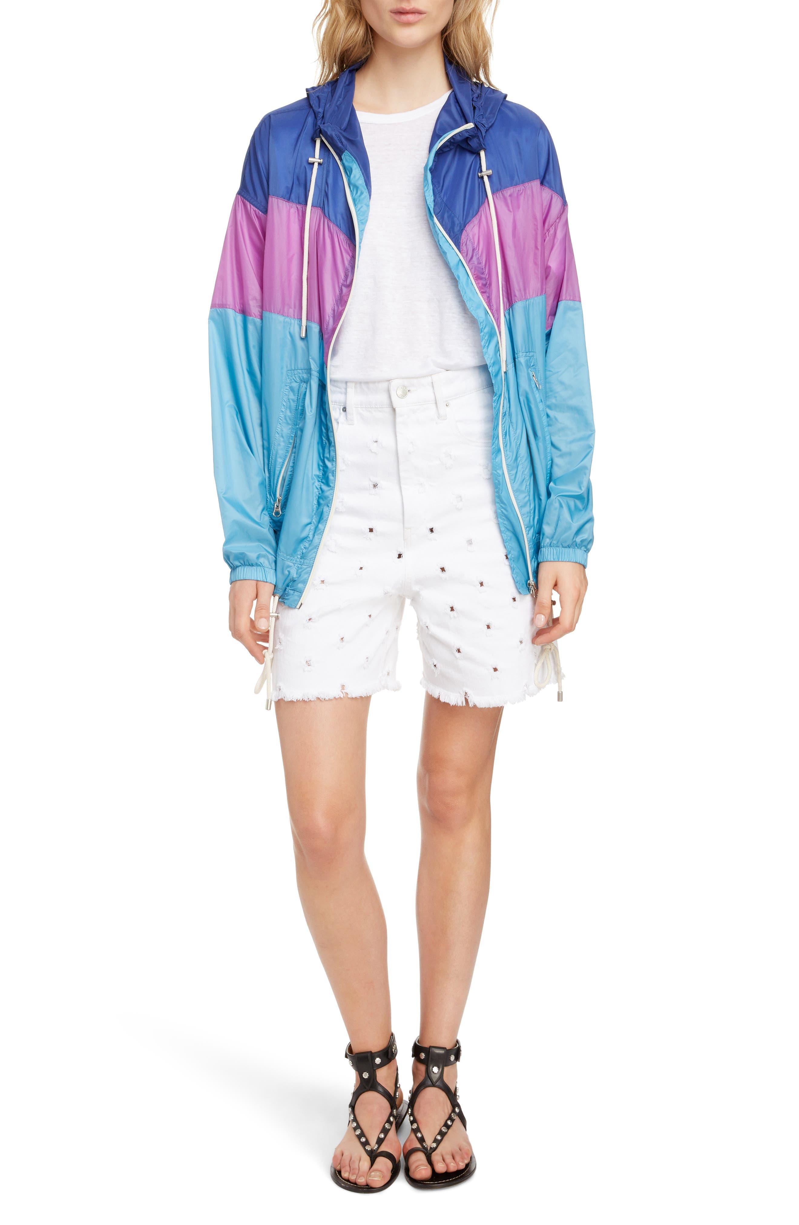ISABEL MARANT ÉTOILE, Kyriel Colorblock Hooded Jacket, Alternate thumbnail 8, color, ELECTRIC BLUE/ VIOLET