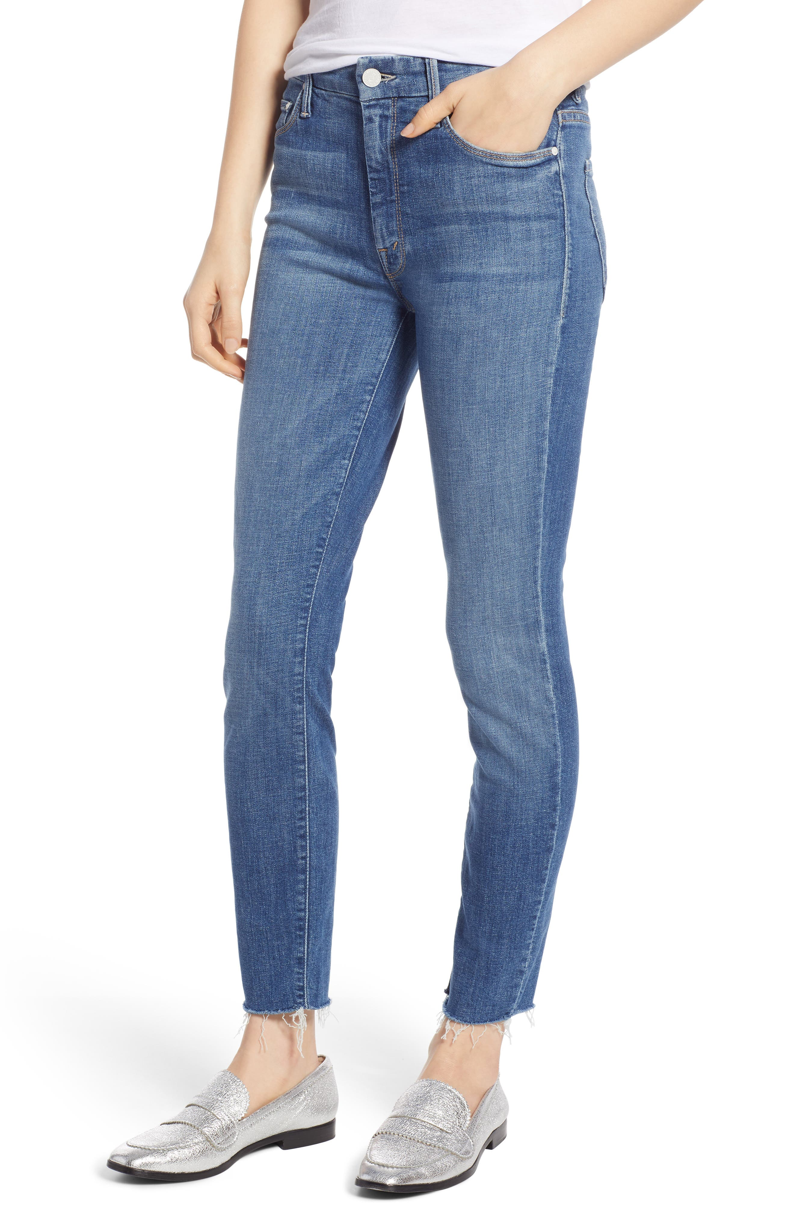 MOTHER, The Looker Frayed Ankle Jeans, Main thumbnail 1, color, ONE SMART COOKIE