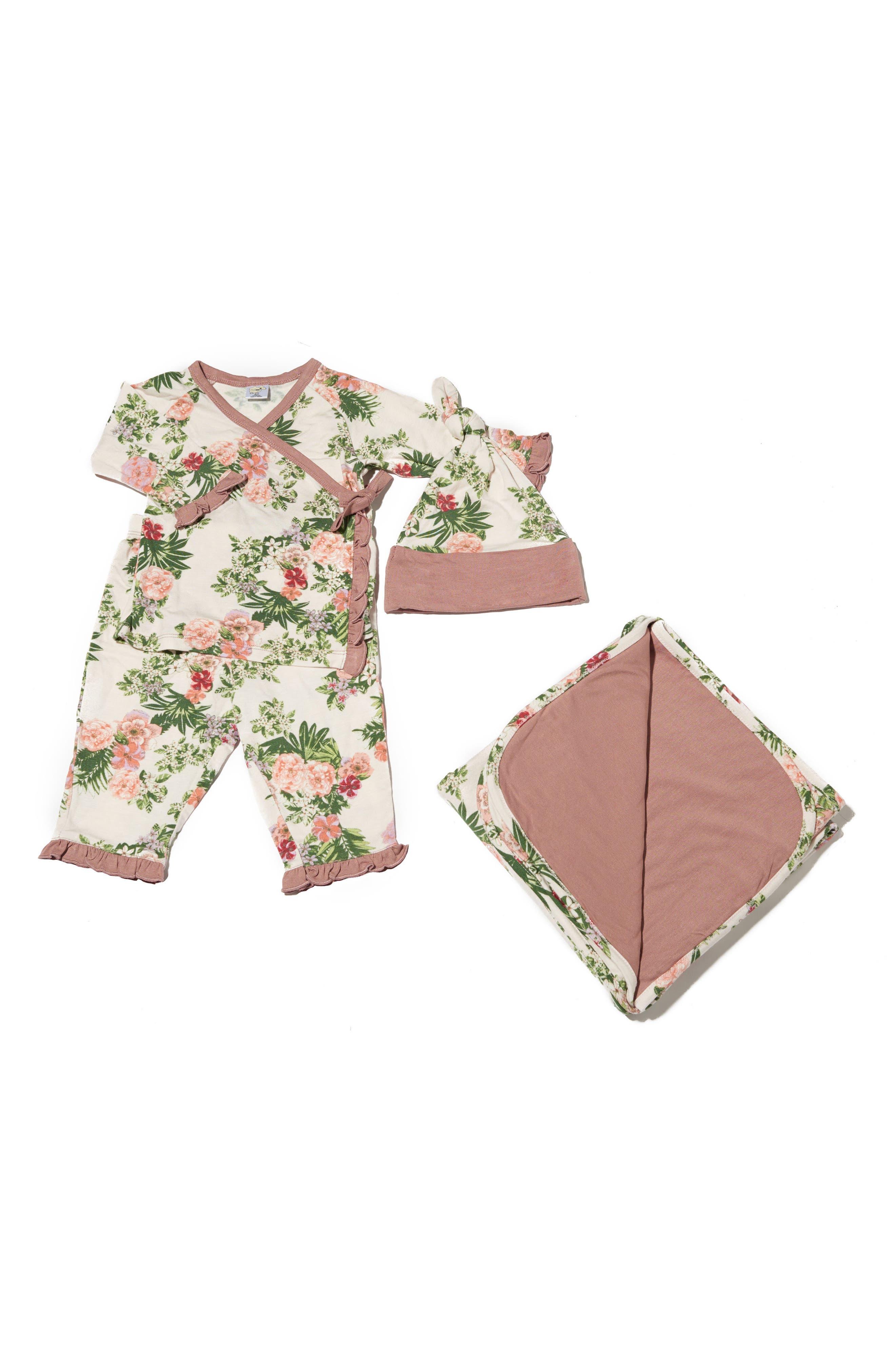 BABY GREY, Ruffle Kimono Top, Pants, Hat & Blanket Set, Main thumbnail 1, color, BEIGE FLORAL