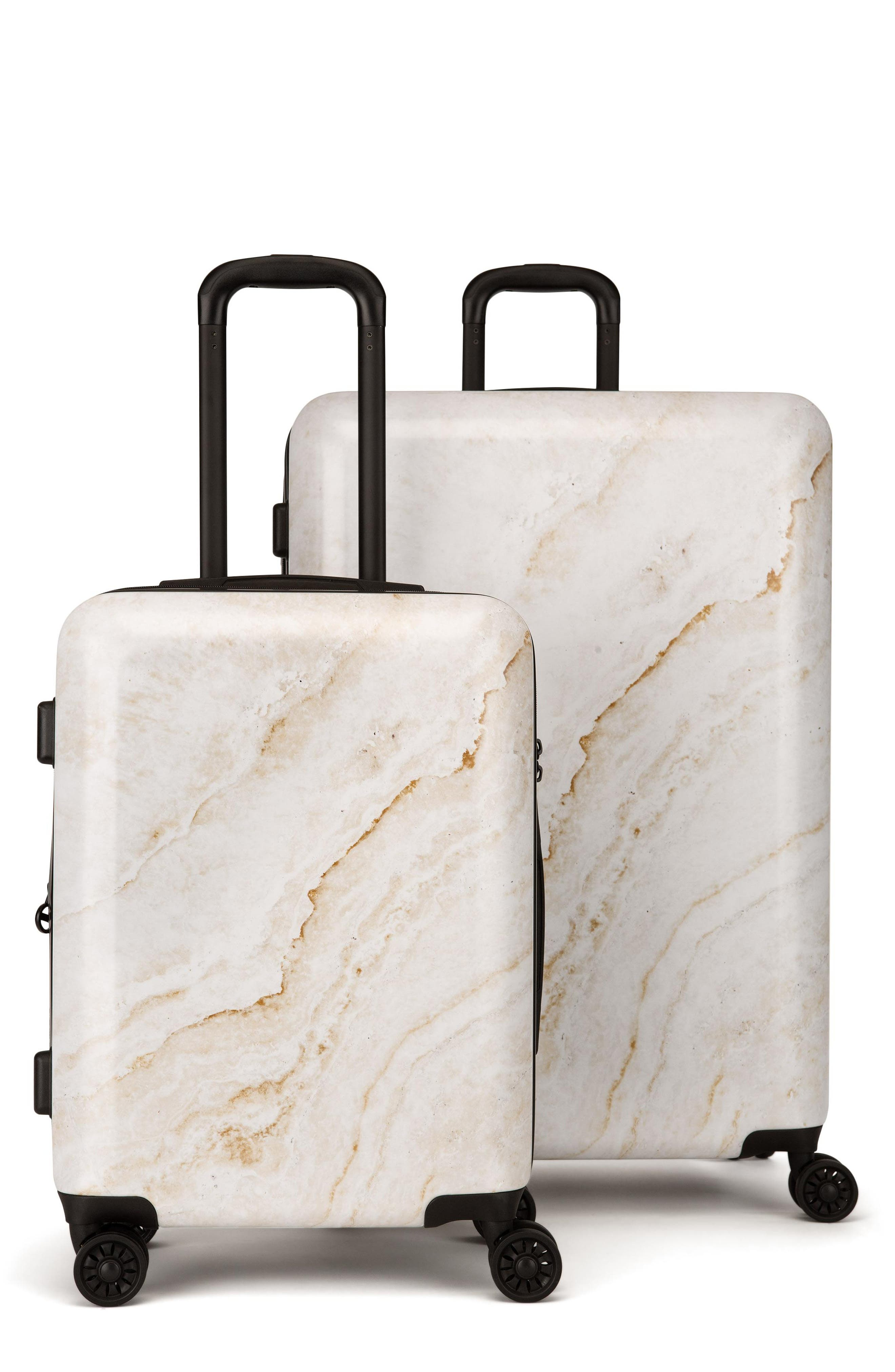 CALPAK, Gold Marble 30-Inch & 22-Inch Hardshell Spinner Suitcase & Carry-On Set, Main thumbnail 1, color, GOLD MARBLE