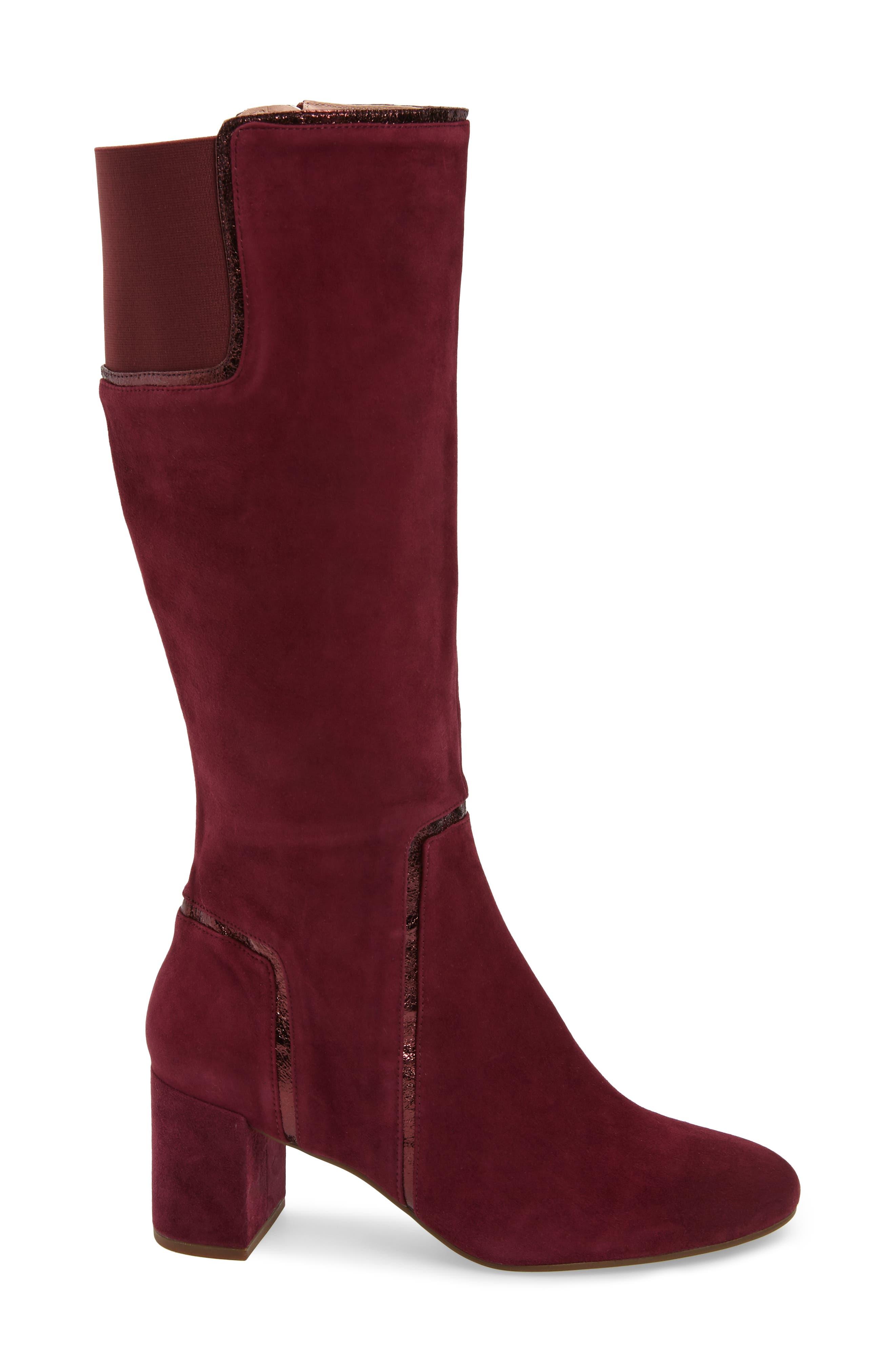 TARYN ROSE, Charlee Knee High Boot, Alternate thumbnail 3, color, FIG SUEDE