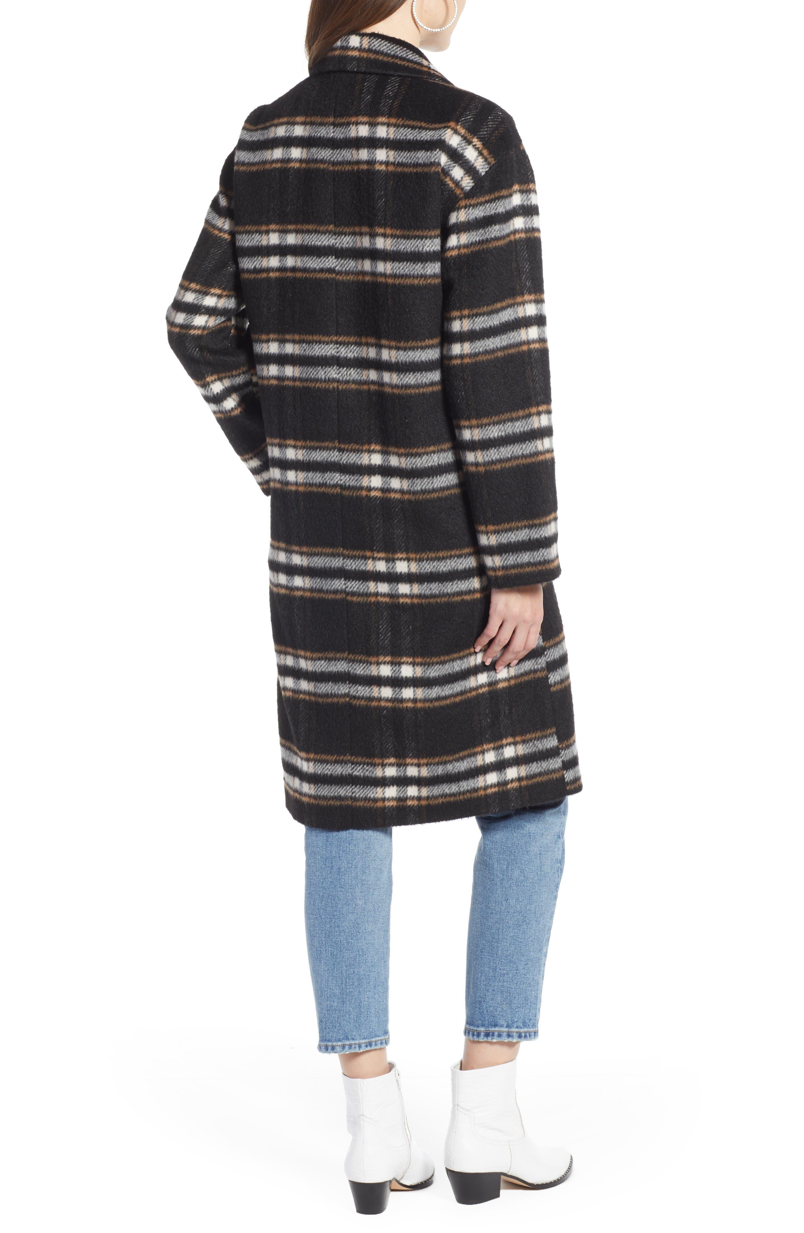 SOMETHING NAVY, Longline Plaid Coat, Alternate thumbnail 2, color, BLACK PLAID