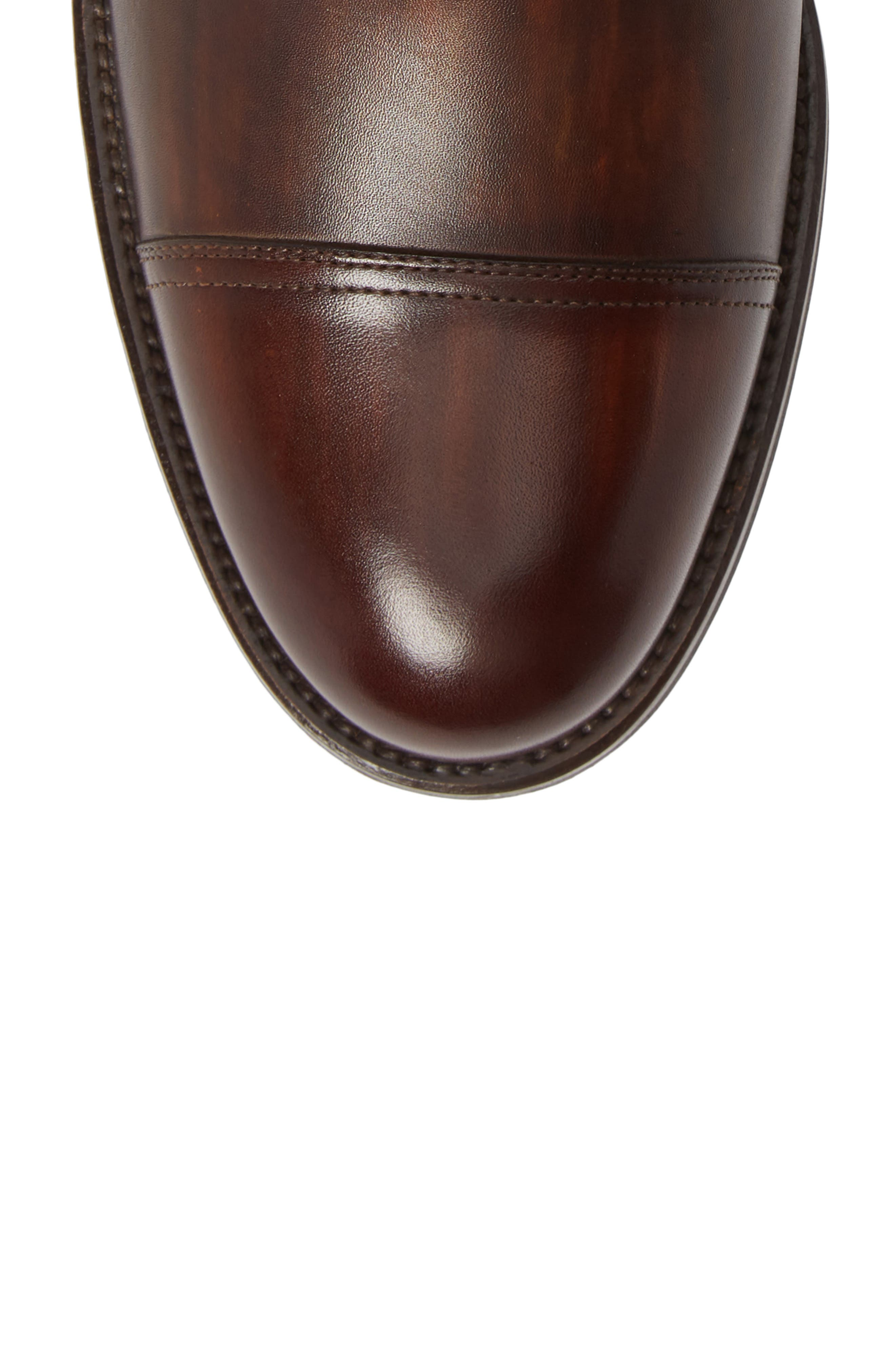 MAGNANNI, Peyton Cap Toe Boot, Alternate thumbnail 5, color, TOBACCO LEATHER