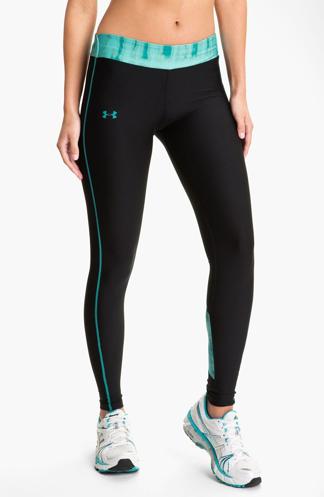 UNDER ARMOUR, ColdGear<sup>®</sup> Print Blocked Tights, Main thumbnail 1, color, 010