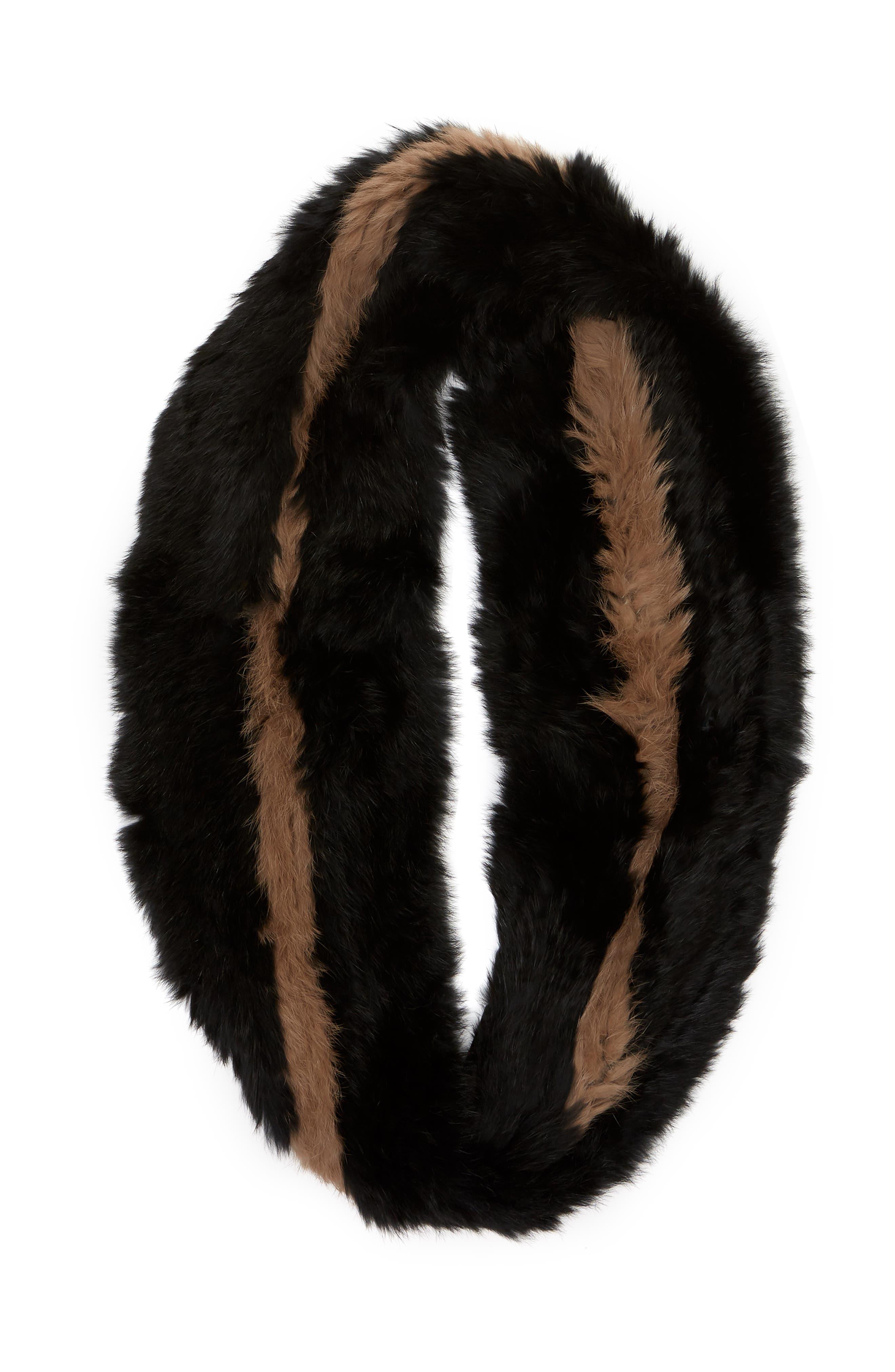 LOVE TOKEN, Genuine Rabbit Fur Infinity Scarf, Alternate thumbnail 3, color, 001