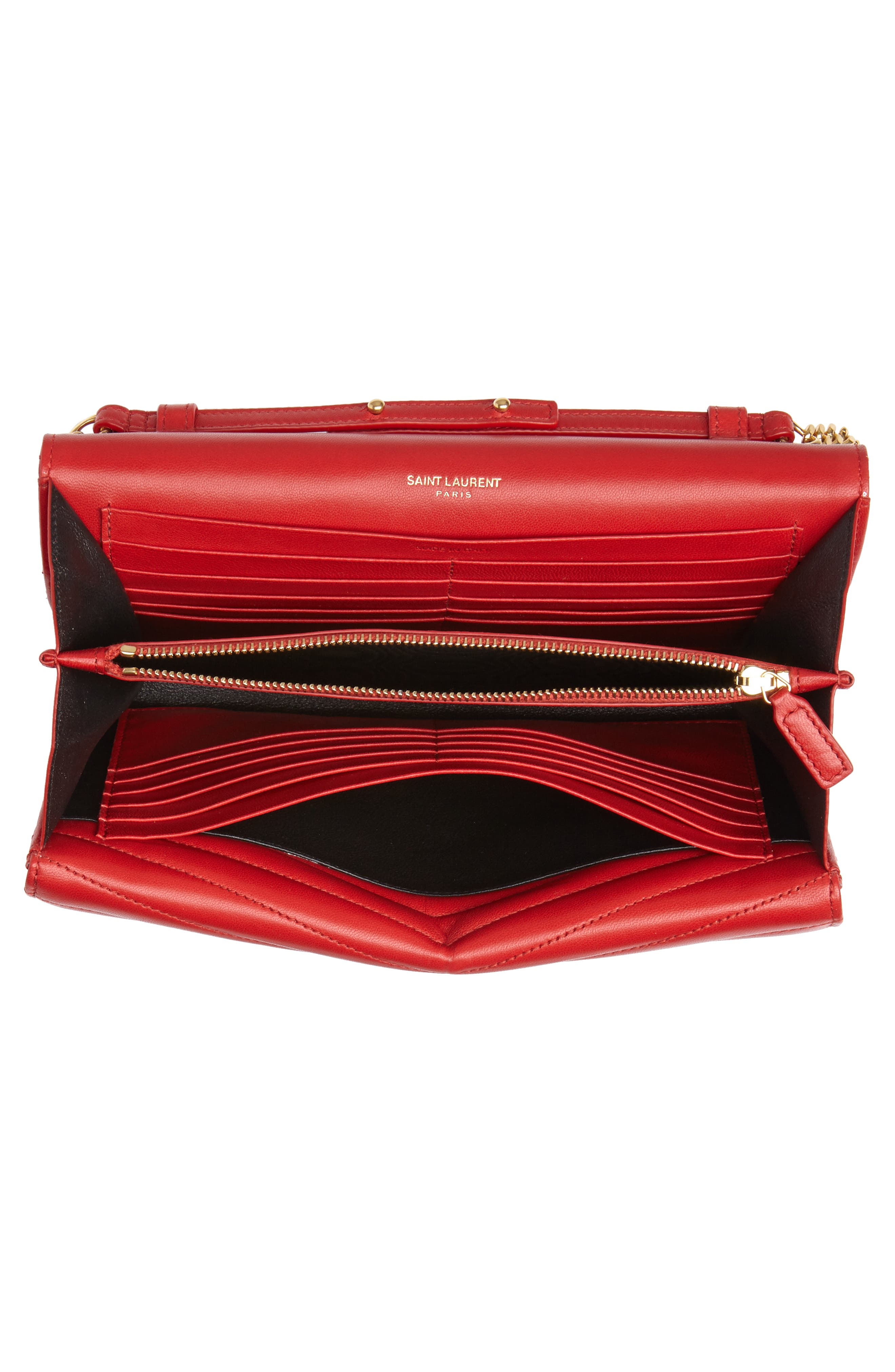 SAINT LAURENT, Sulpice Leather Crossbody Wallet, Alternate thumbnail 4, color, BANDANA RED