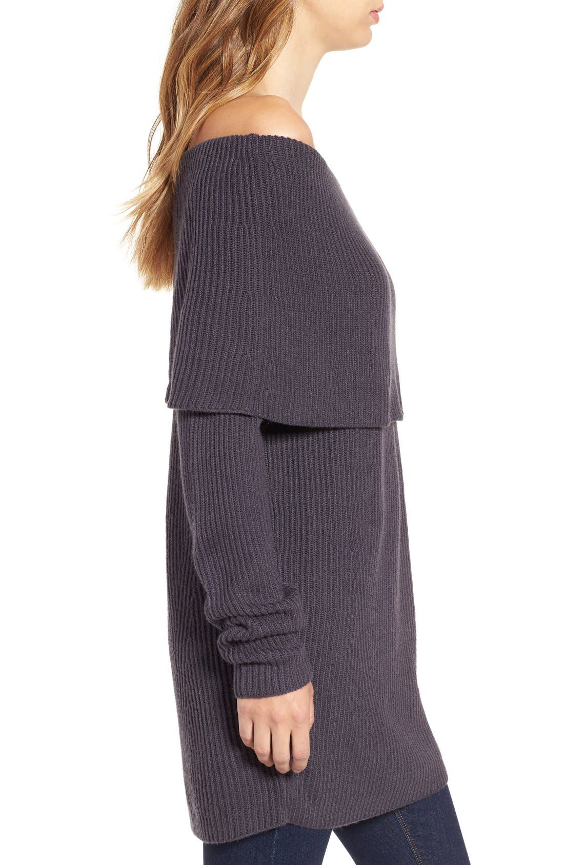 LEITH, Off the Shoulder Knit Sweater, Alternate thumbnail 2, color, 021