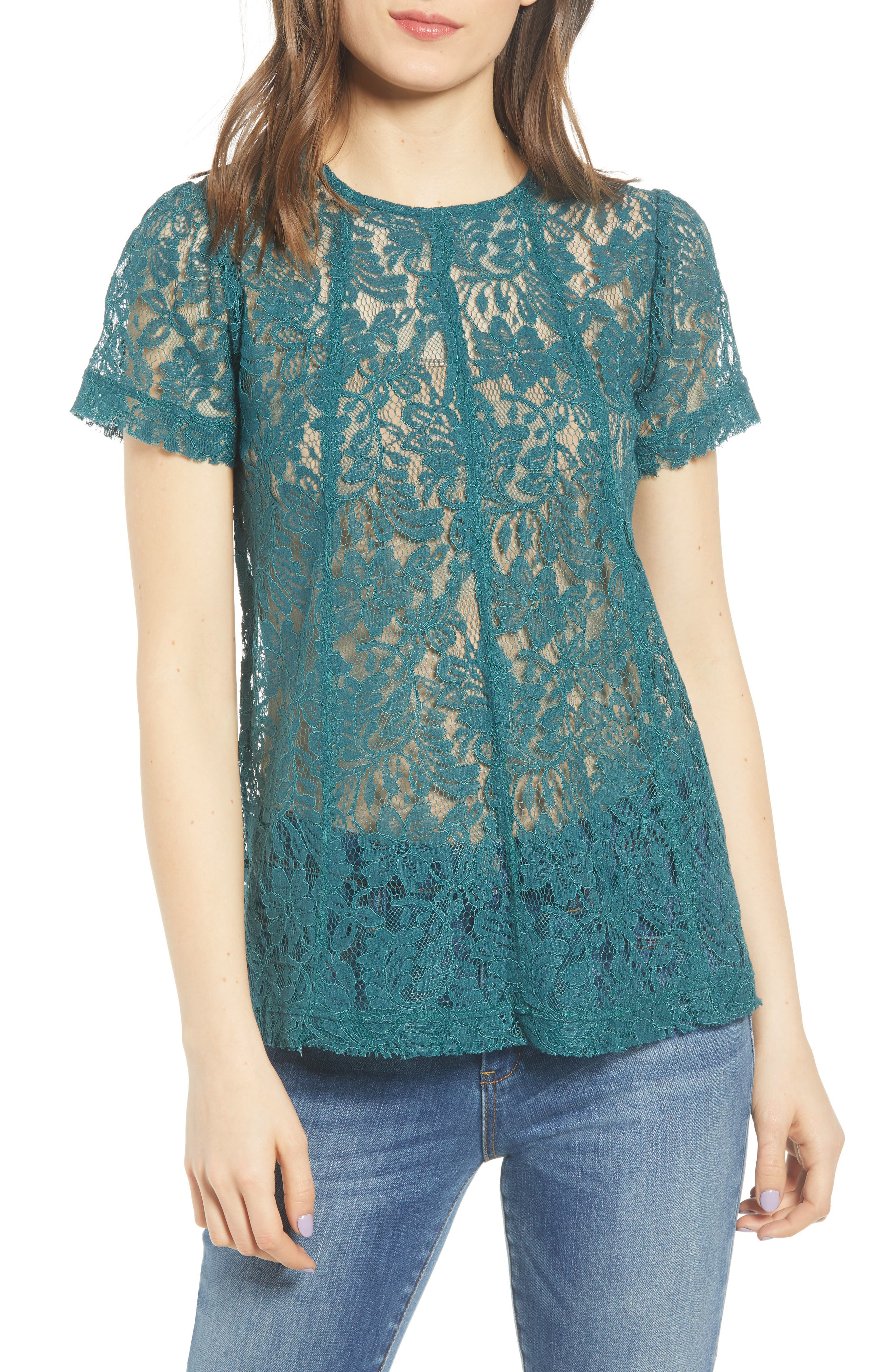 CHELSEA28, Lace Top, Main thumbnail 1, color, TEAL BALSAM