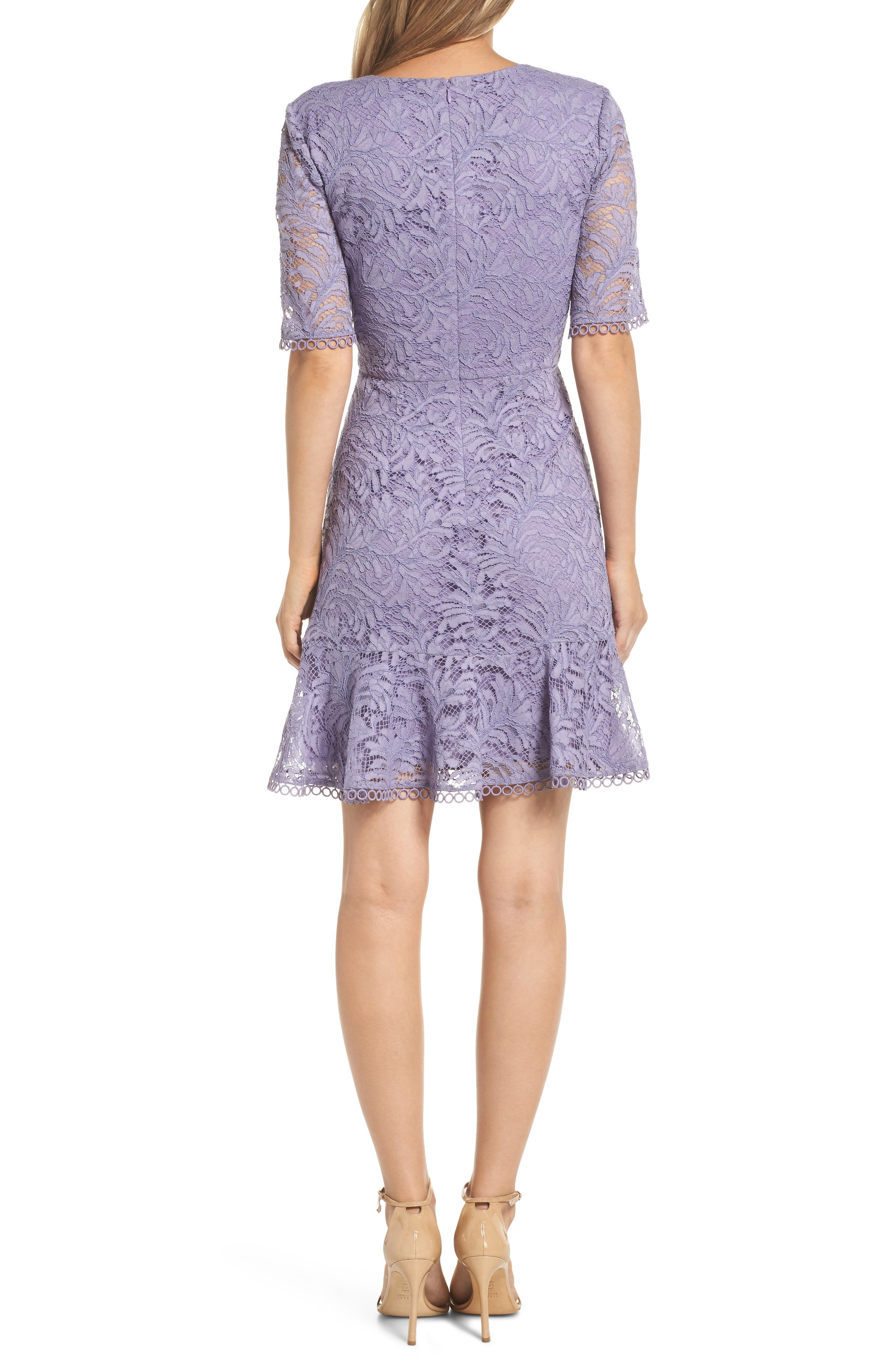 VINCE CAMUTO, Asymmetrical Ruffle Lace Fit & Flare Dress, Alternate thumbnail 2, color, 524