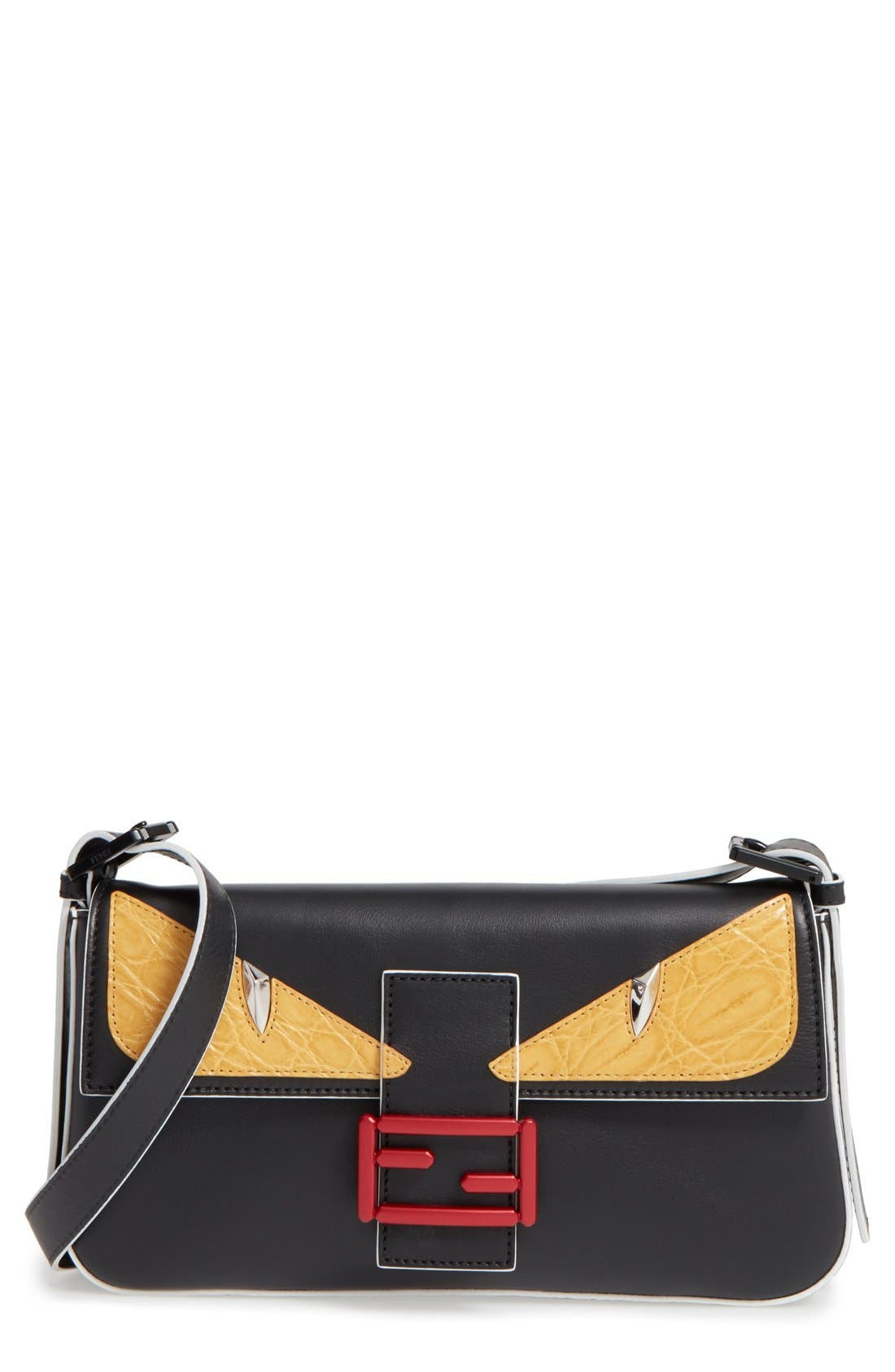 FENDI, 'Mini Monster' Leather Baguette, Main thumbnail 1, color, 001