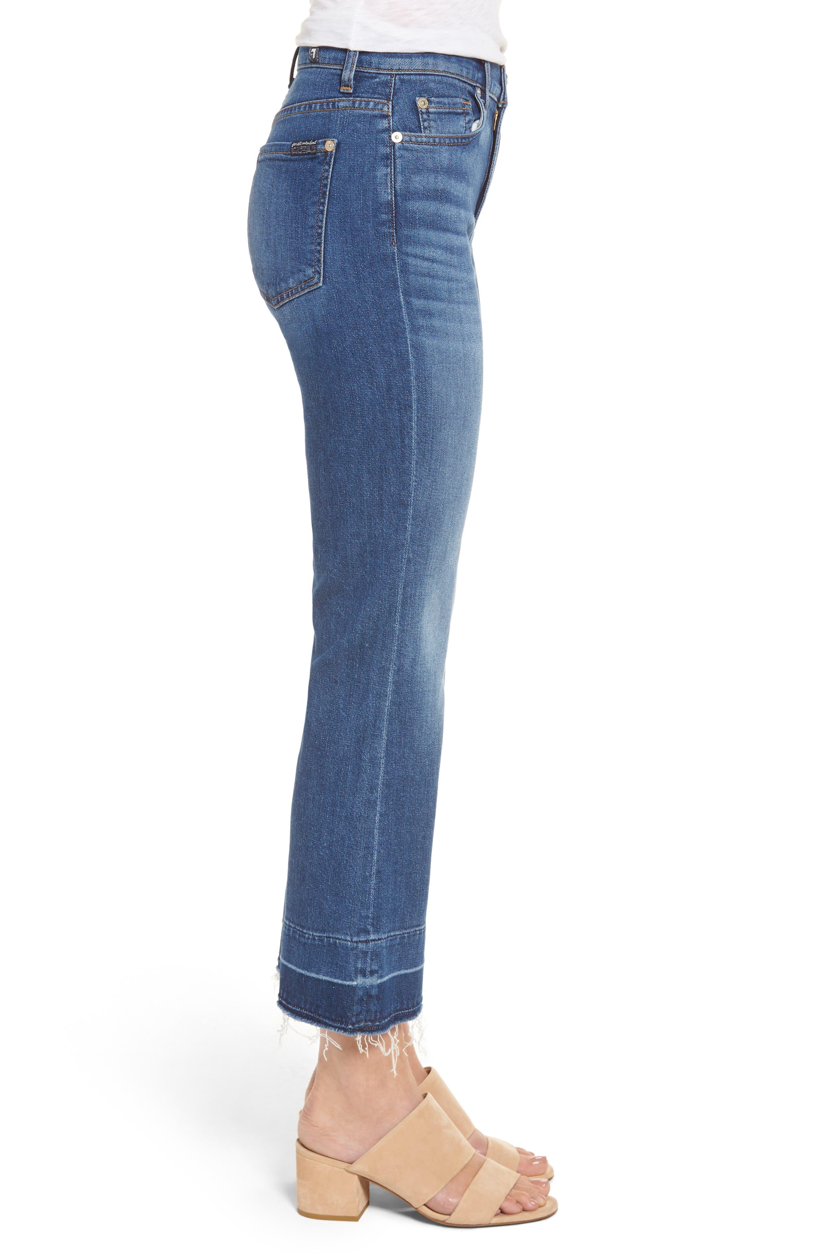 7 FOR ALL MANKIND<SUP>®</SUP>, Ali Split Hem Crop Flare Jeans, Alternate thumbnail 3, color, 401