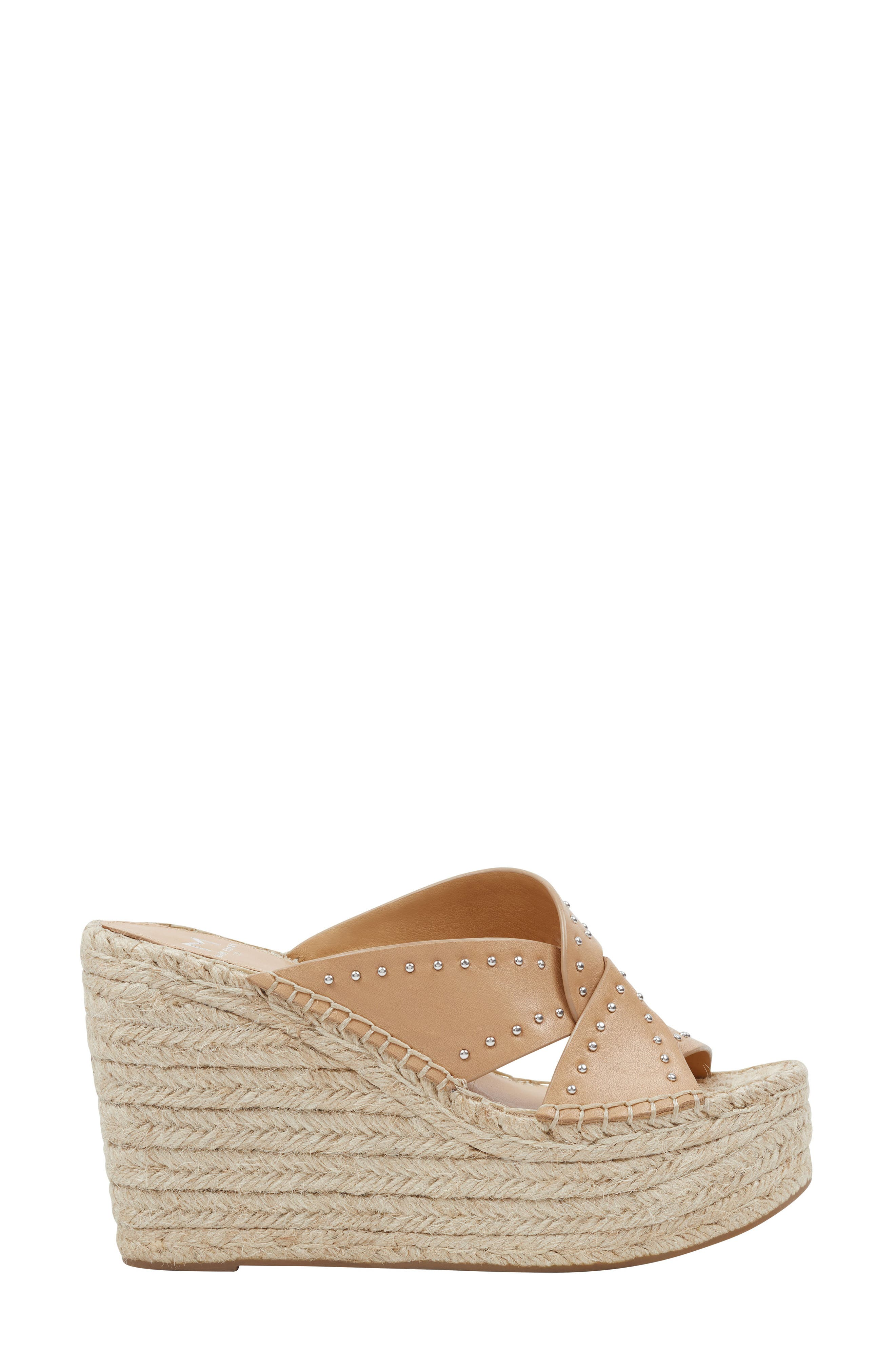 MARC FISHER LTD, Angelina Espadrille Wedge, Alternate thumbnail 3, color, TAN LEATHER