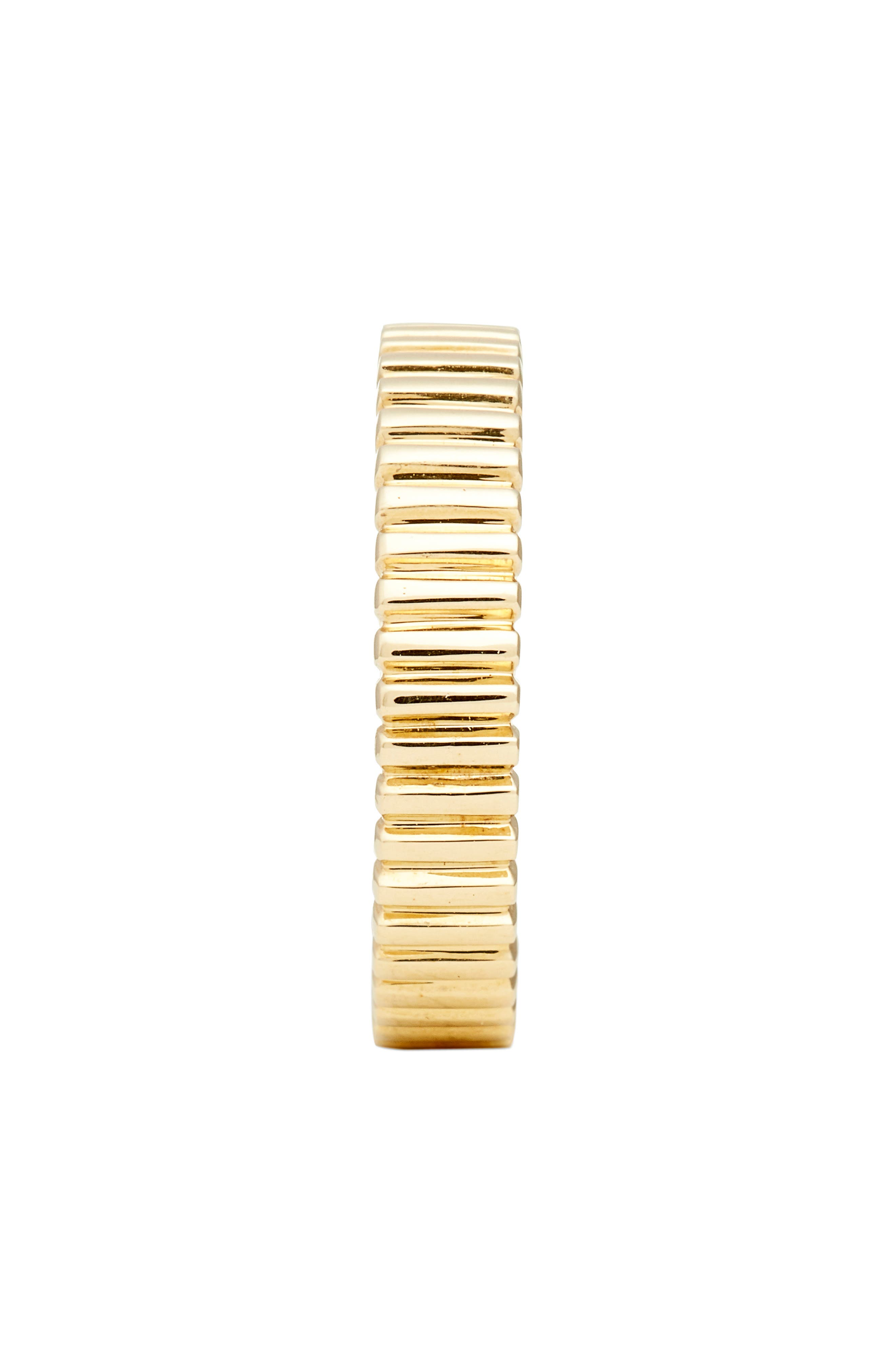 BONY LEVY, Linear Beveled Stackable Ring, Alternate thumbnail 2, color, YELLOW GOLD
