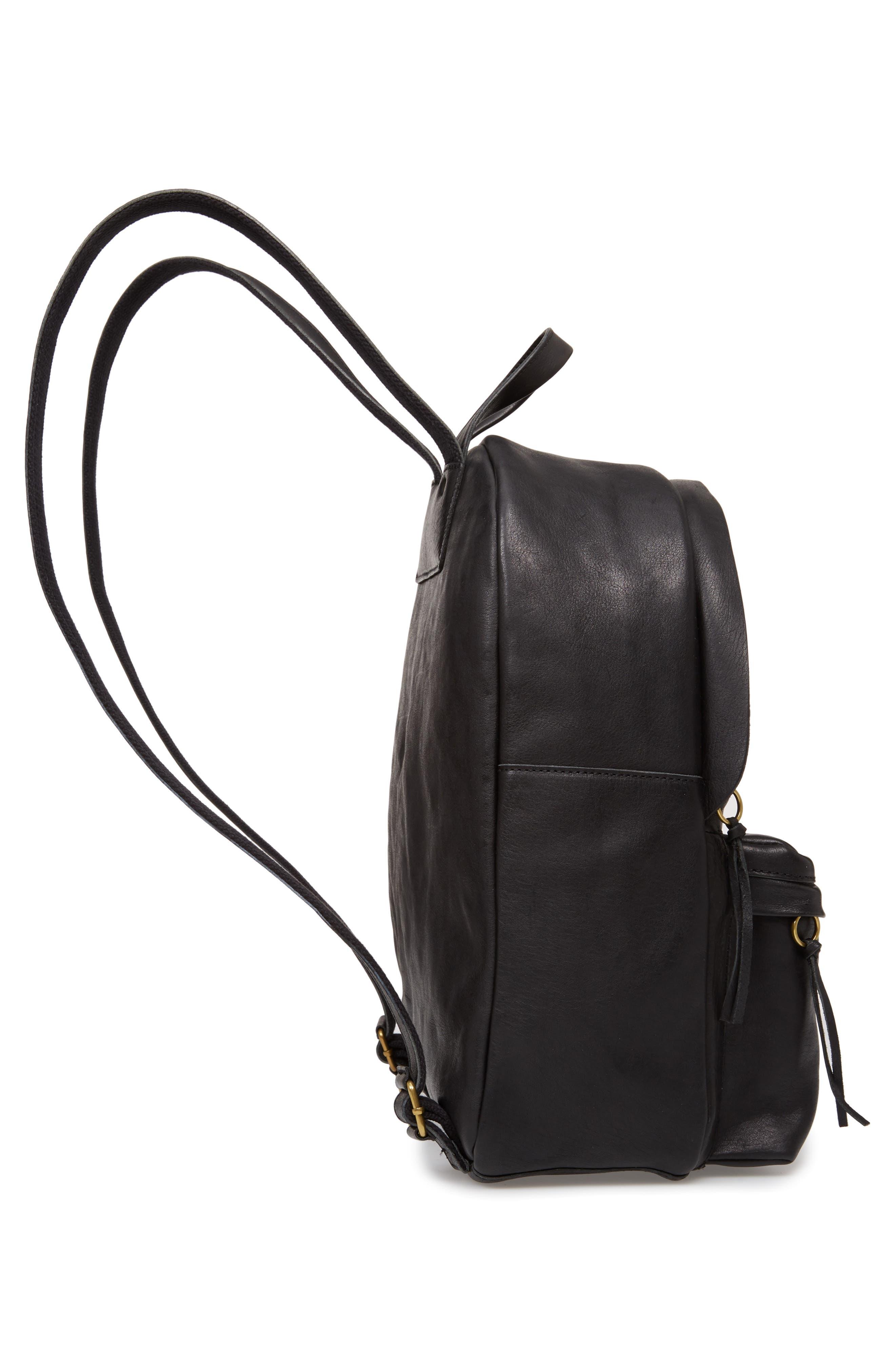 MADEWELL, Lorimer Leather Backpack, Alternate thumbnail 6, color, TRUE BLACK